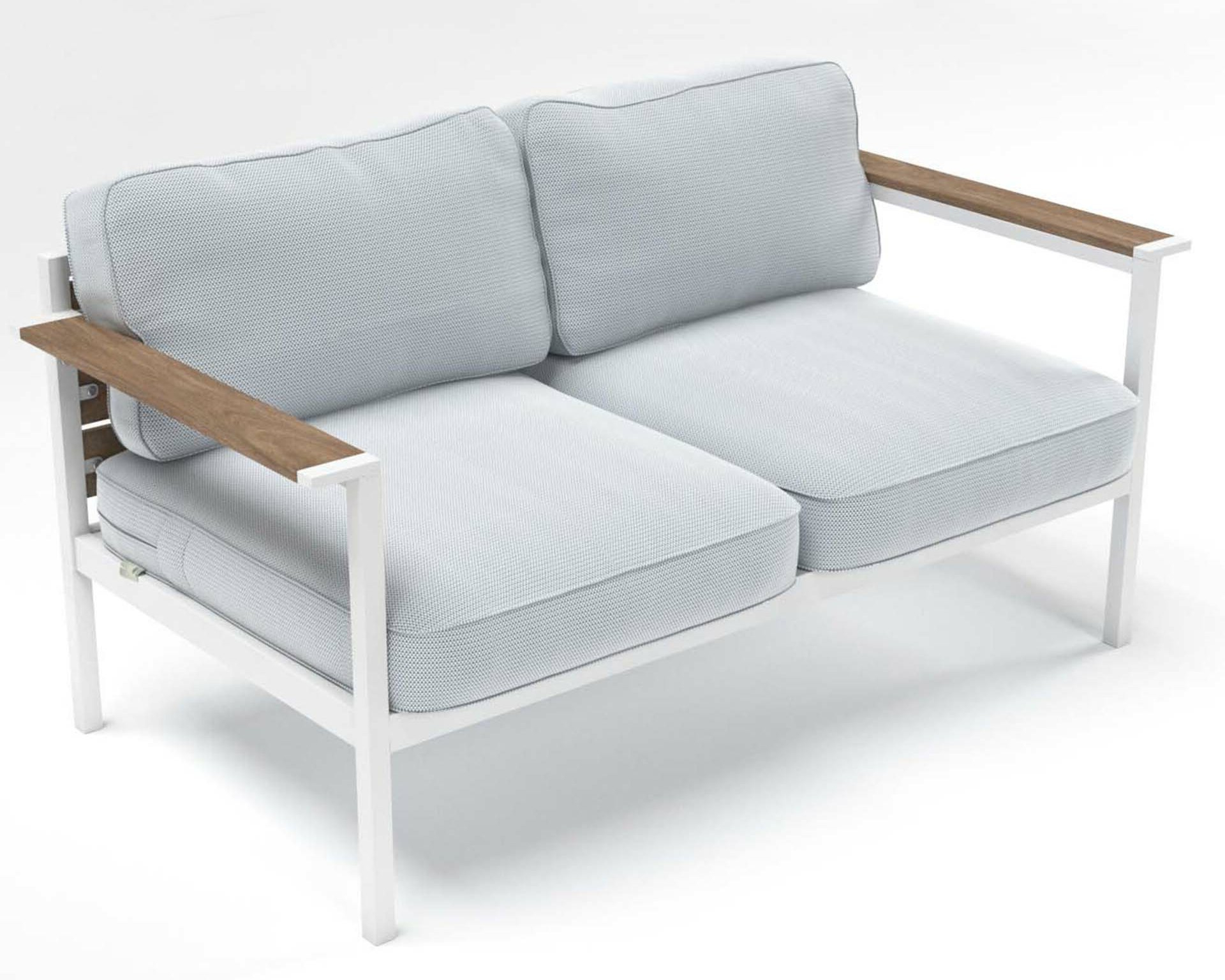 Fashionable Outdoor Steel And Wood Framed Loveseat With Cushions Regarding Bristol Loveseats With Cushions (View 9 of 20)