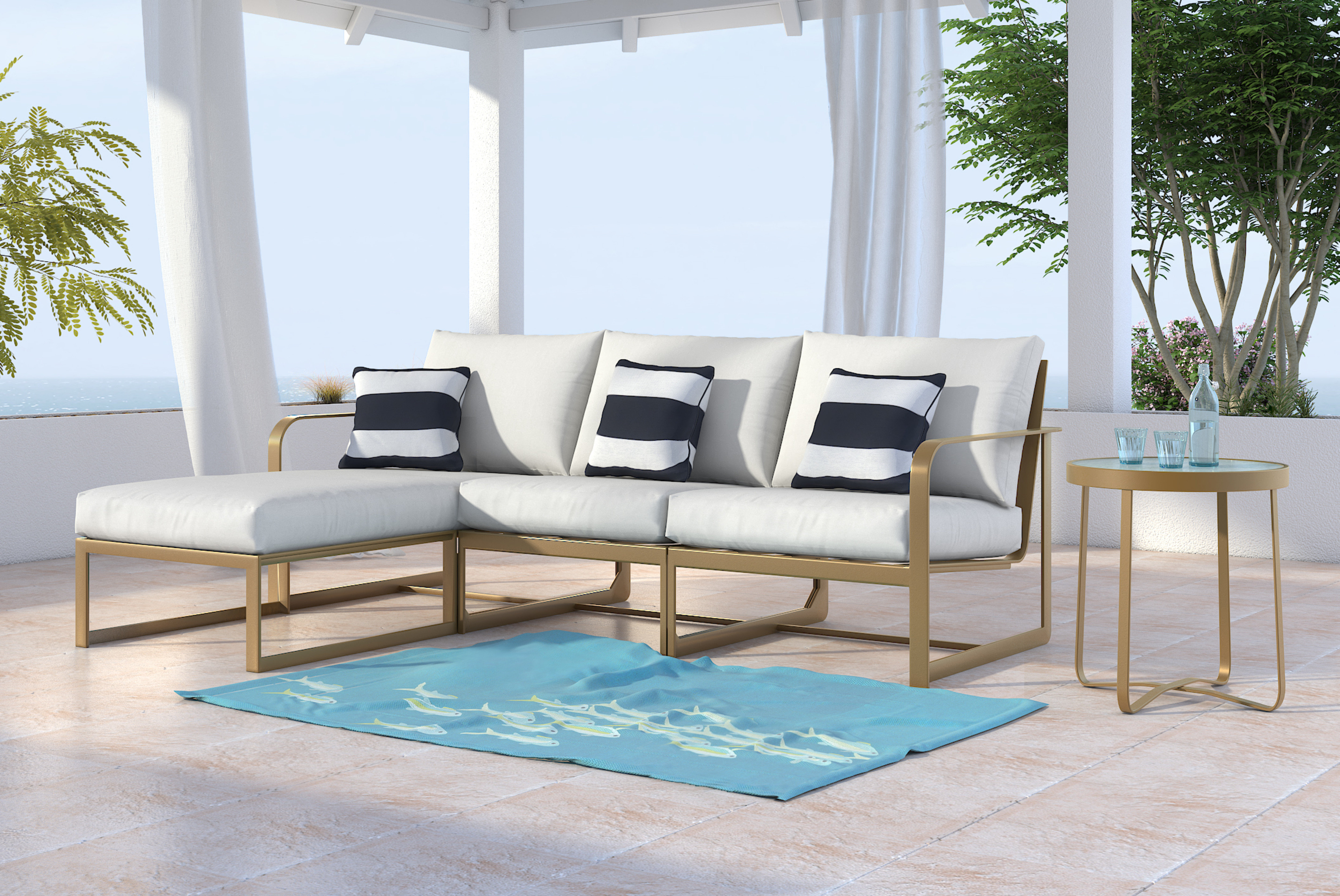 Fashionable Paloma Sectionals With Cushions Intended For Mirabelle Patio Sectional With Cushions (View 5 of 20)