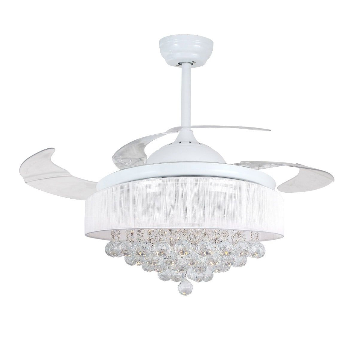 Fashionable Parrot Modern 42 Inch Led Ceiling Fan With Remote Crystal For Broxburne 4 Blade Led Ceiling Fans With Remote (View 11 of 20)
