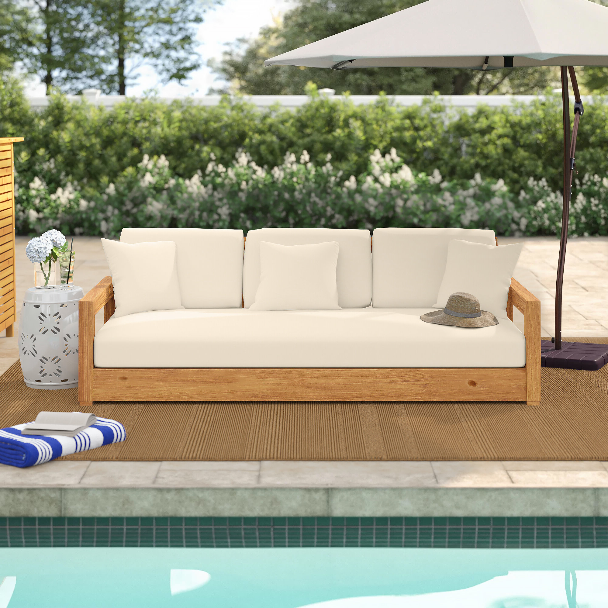Fashionable Rosecliff Heights Lakeland Teak Patio Sofa With Cushions In Roush Teak Patio Daybeds With Cushions (View 4 of 20)