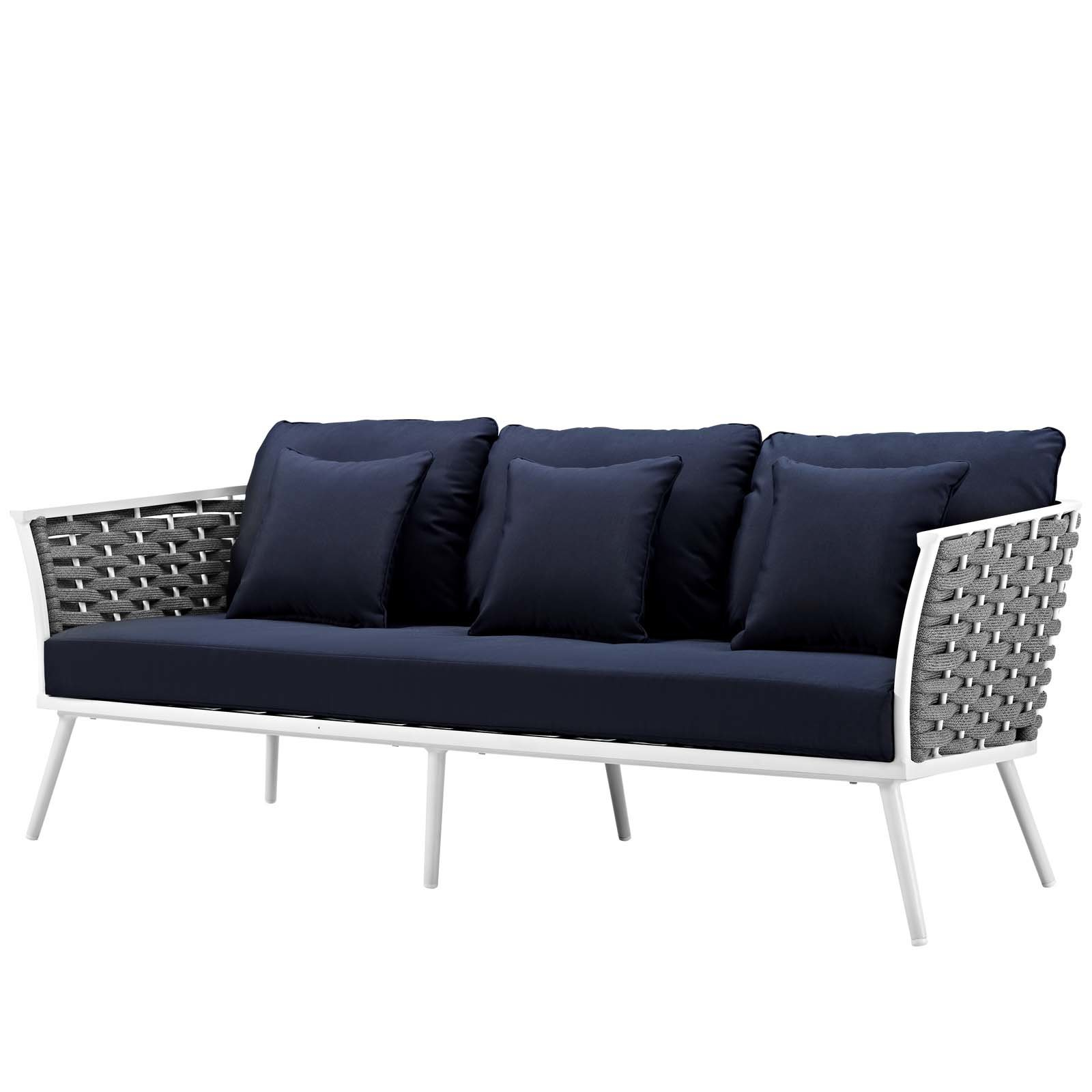 Fashionable Rossville Outdoor Patio Sofa With Cushions Inside Stapleton Wicker Resin Patio Sofas With Cushions (View 12 of 20)