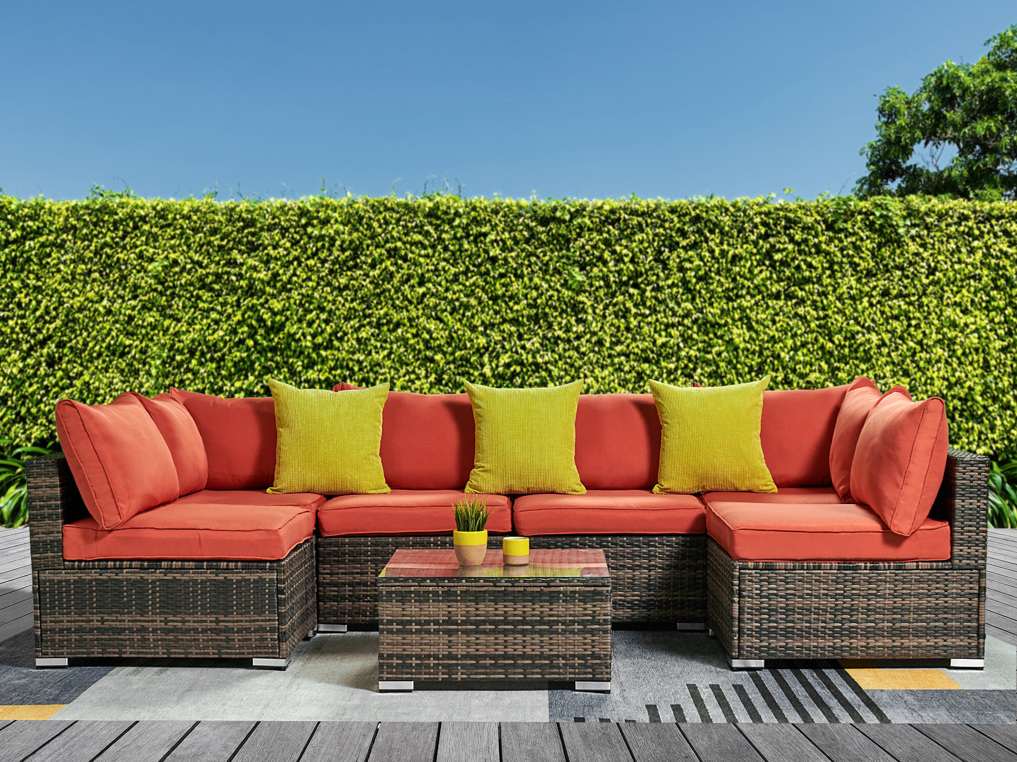 Fashionable Rowley Patio Sofas Set With Cushions With Regard To Safiya Patio Sectional With Cushions (View 4 of 20)