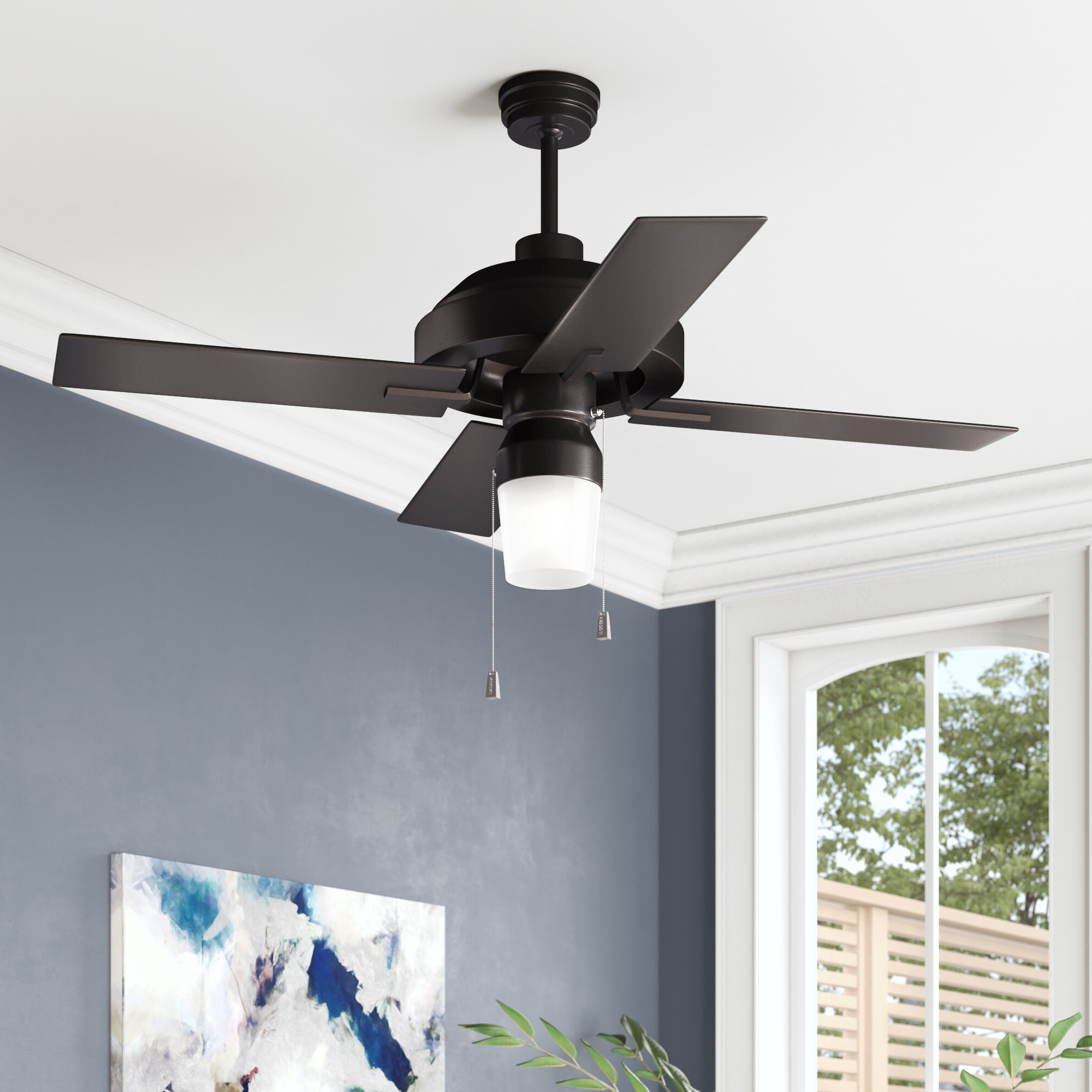 "Favorite 52"" Fagundes 4 Blade Outdoor Ceiling Fan Throughout Martika 4 Blade Ceiling Fans (View 7 of 20)"