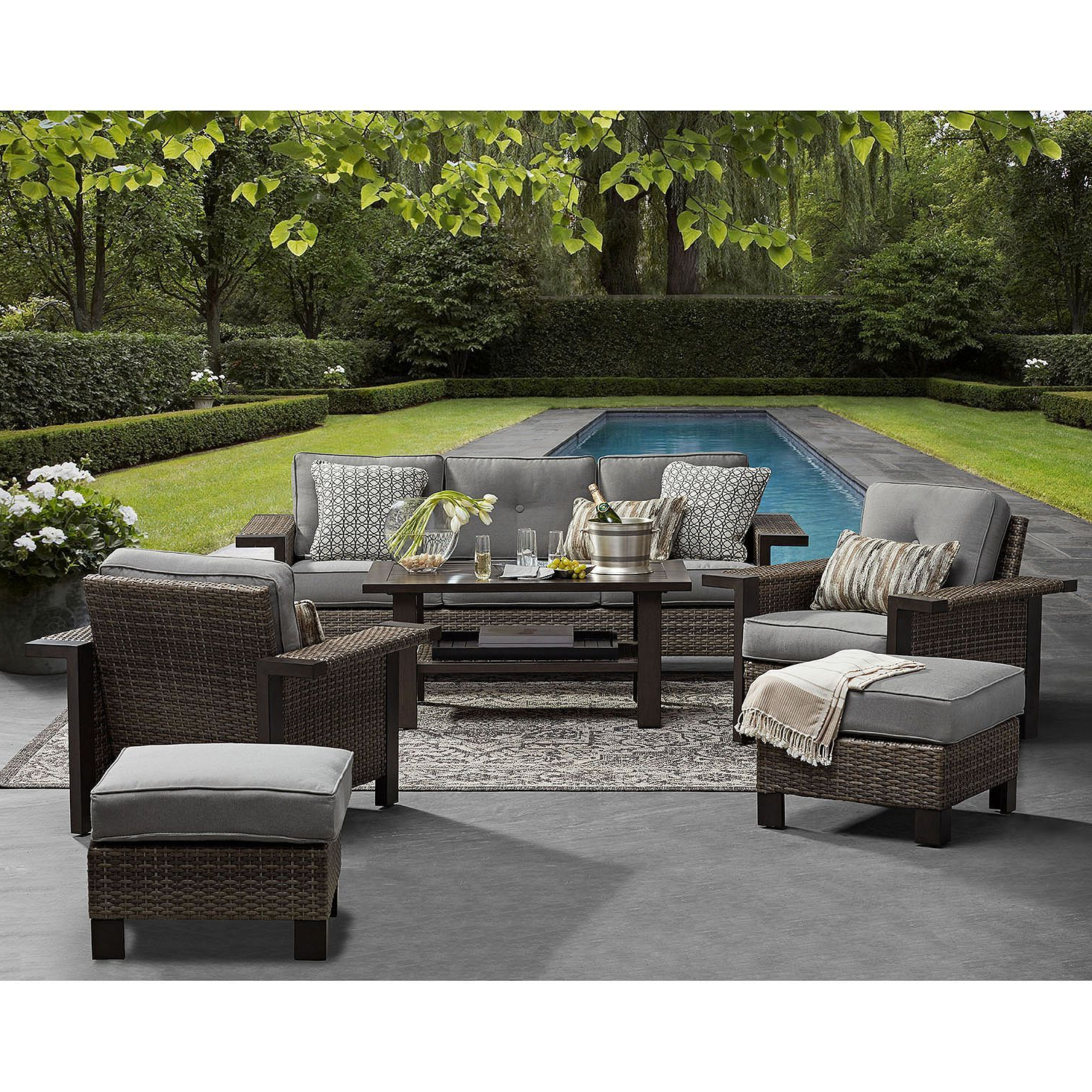 Favorite Avadi Outdoor Sofas & Ottomans 3 Piece Set With Regard To Member's Mark Agio Manchester 6 Piece Patio Deep Seating Set (View 17 of 25)