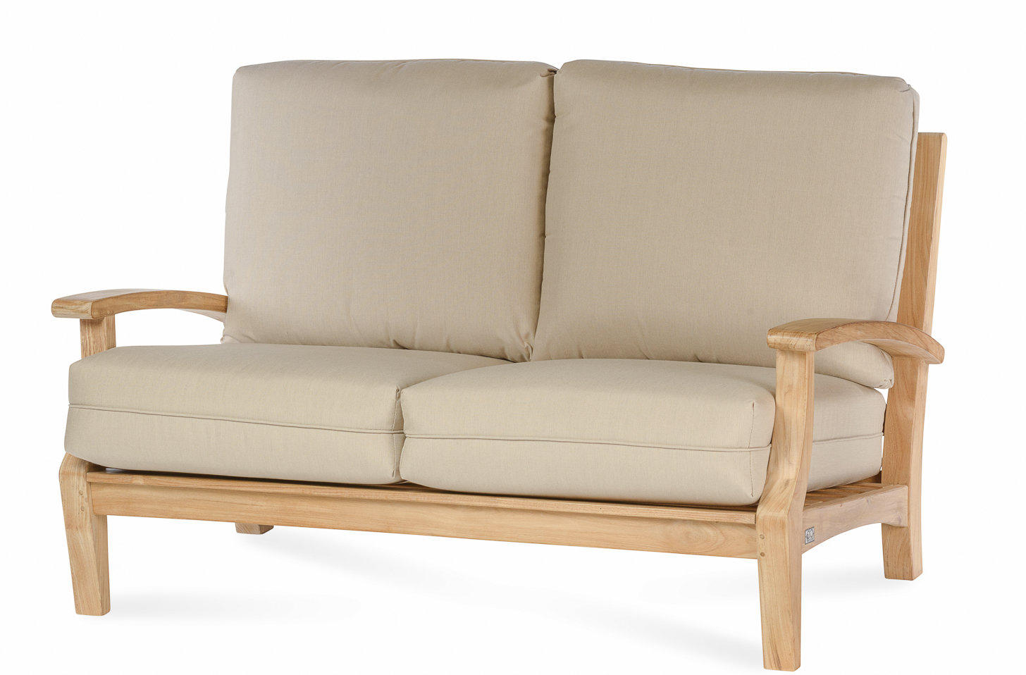 Favorite Boyle Teak Loveseat With Sunbrella Cushion With Mansfield Teak Loveseats With Cushion (View 3 of 20)