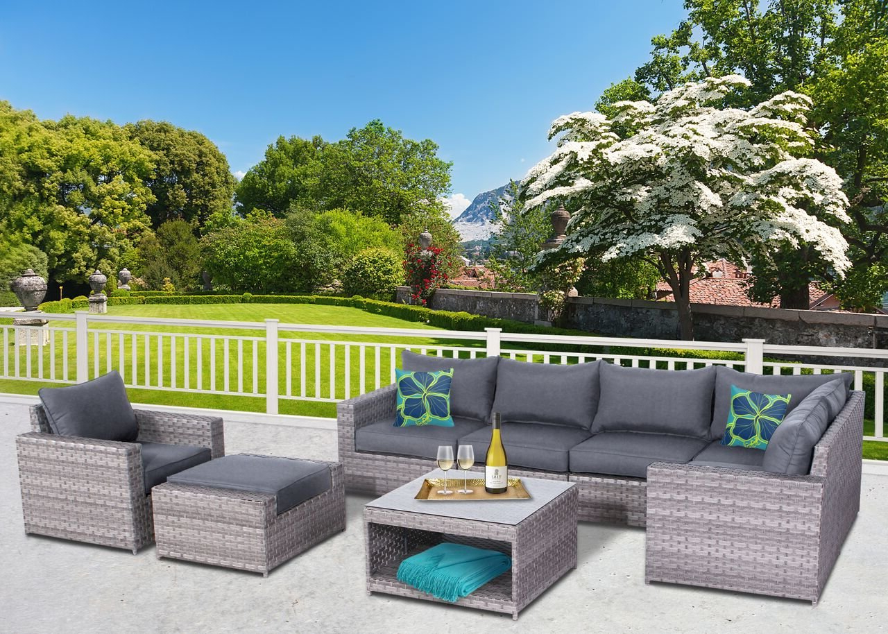 Favorite Burkley 8 Piece Sectional Set With Cushions For Meeks Patio Sofas With Cushions (View 9 of 20)