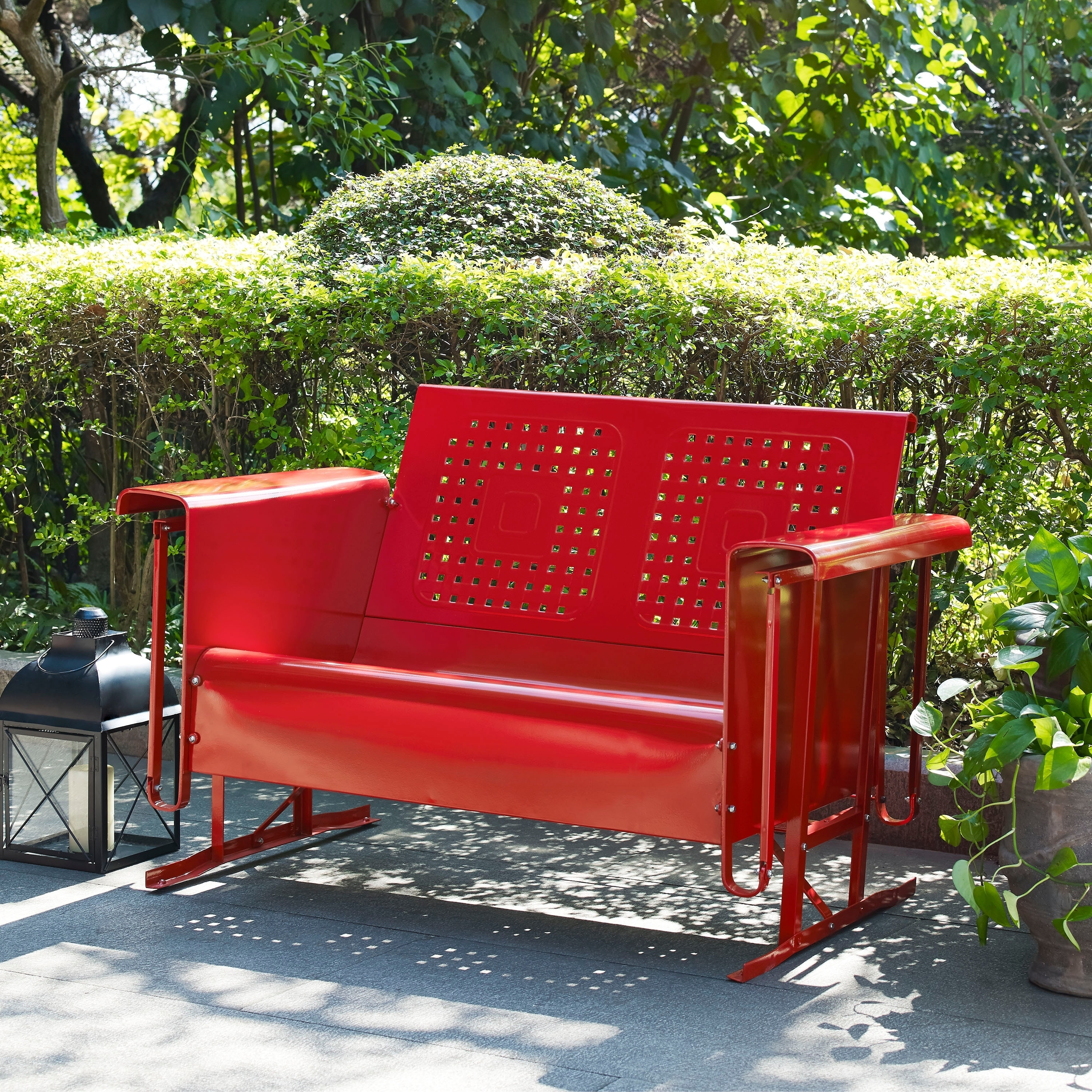 Favorite Corentin Patio Sofas Intended For Bates Loveseat Glider In Red, Crosley Furniture, Patio (View 6 of 20)