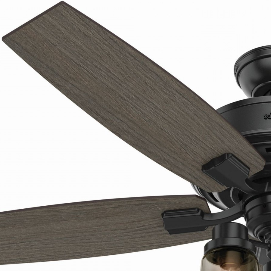 Favorite Hunter 54189 Bennett 3 Led Light 52 Inch Ceiling Fans In Matte Black With 5  Grey Walnut Blade And Smoked Glass For Bennett 5 Blade Ceiling Fans With Remote (View 10 of 20)