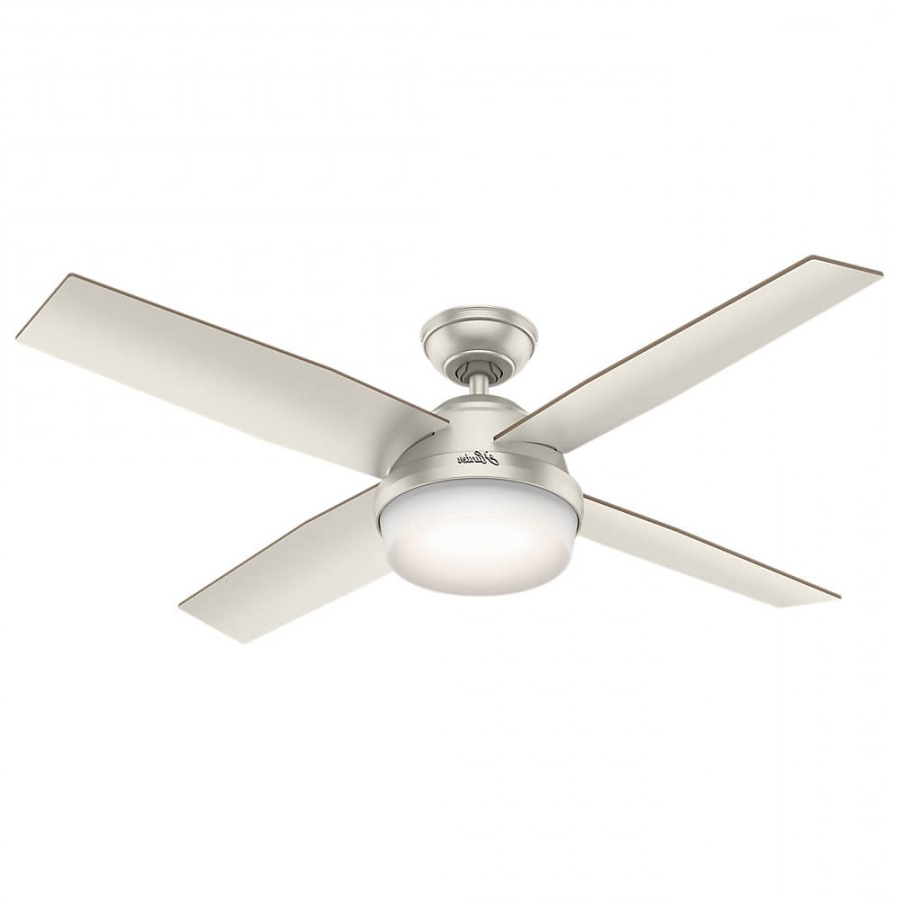 Favorite Hunter 59450 Dempsey 2 Led Light 52 Inch Ceiling Fan In Matte Nickel With 4  Matte Nickel Blade And Cased White Glass With Dempsey 4 Blade Ceiling Fans (View 11 of 20)