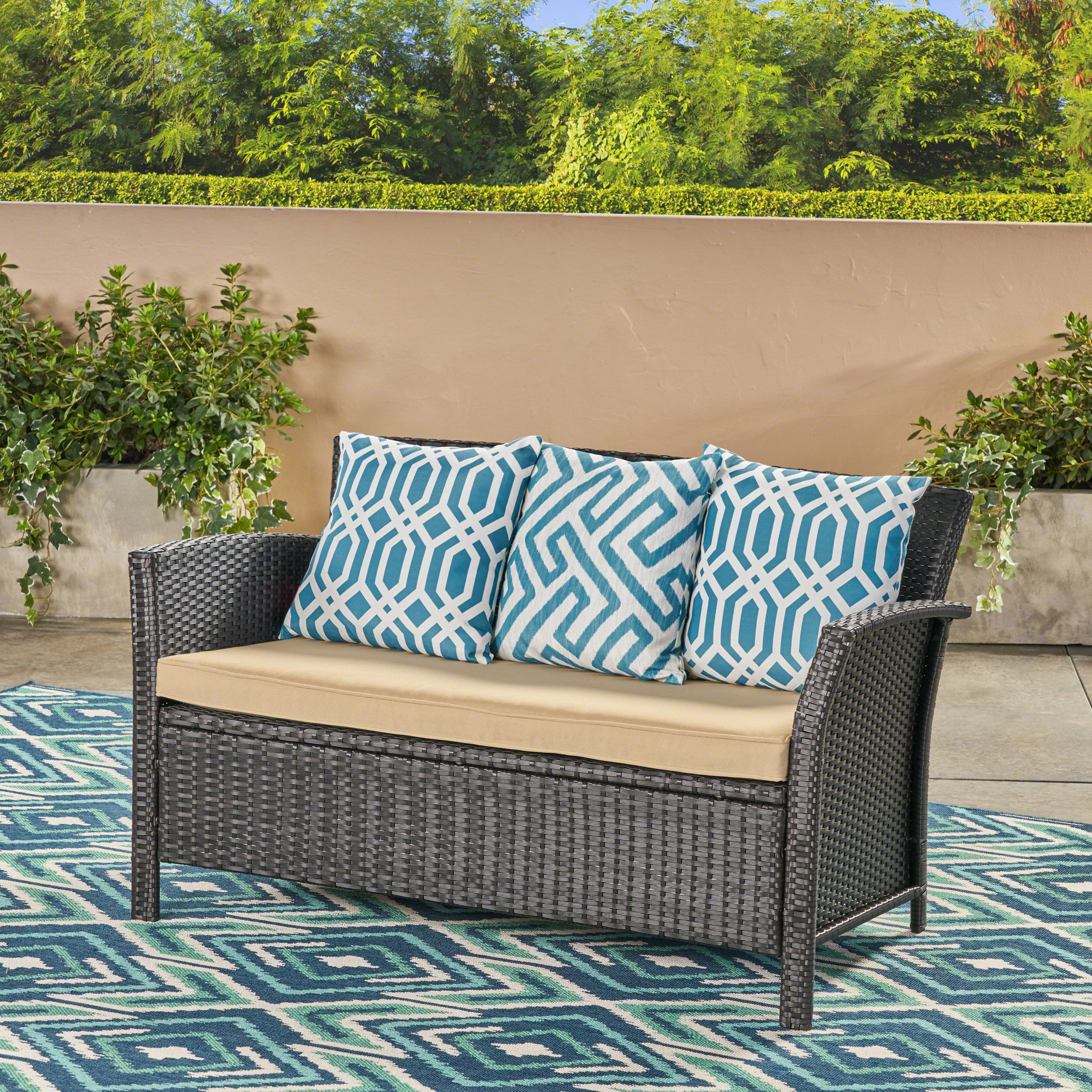 Favorite Keever Patio Sofas With Sunbrella Cushions Throughout Mullenax Outdoor Loveseat With Cushions (View 6 of 20)
