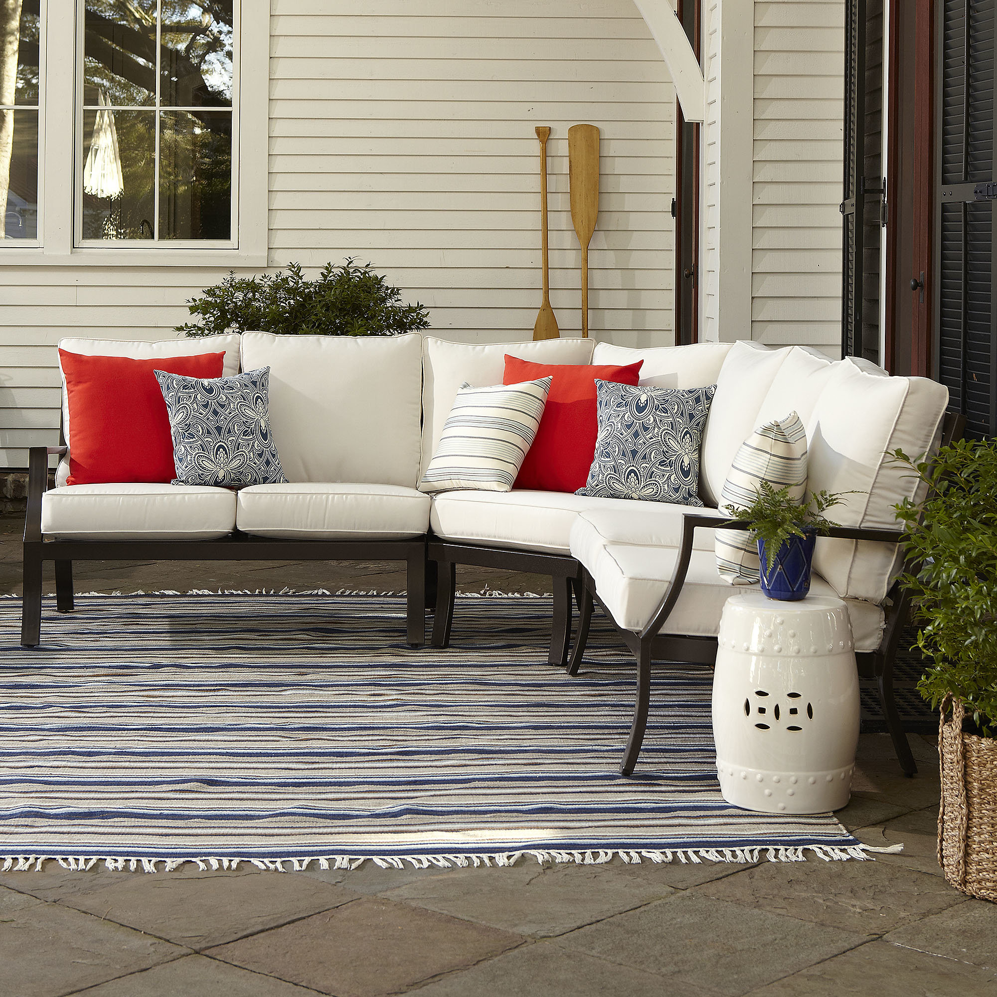 Favorite Keiran Patio Sofas With Cushions With Regard To Kelsie Patio Sectional With Sunbrella Cushions (View 14 of 20)