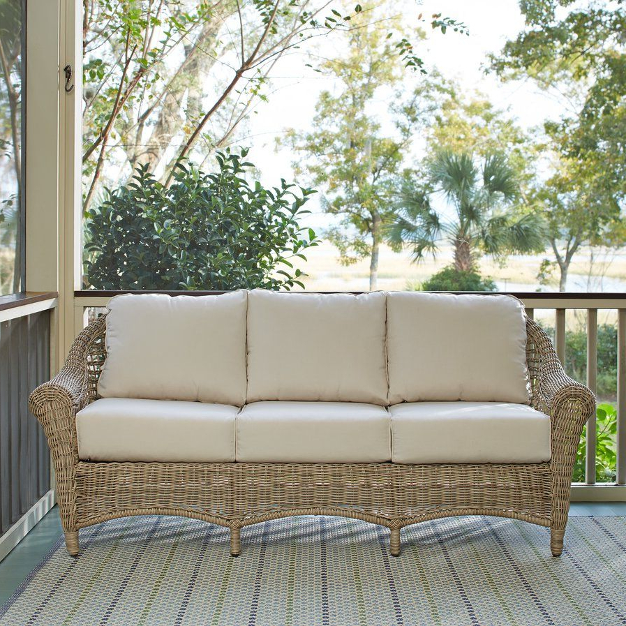 Favorite Lynwood Wicker Sofa With Sunbrella® Cushions (View 7 of 20)