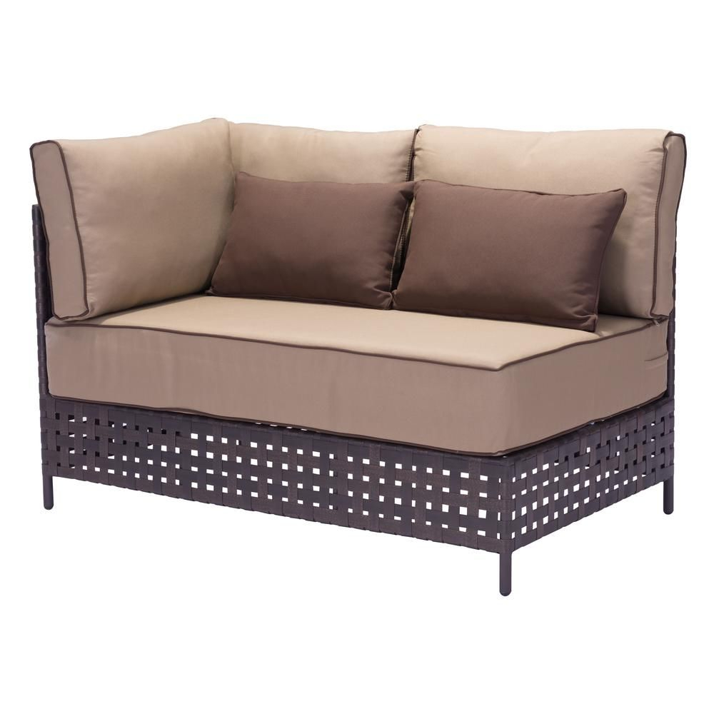 Favorite Northridge Loveseats With Cushions Within Zuo Pinery Wicker Left Arm Outdoor Patio Sectional Chair (View 4 of 20)