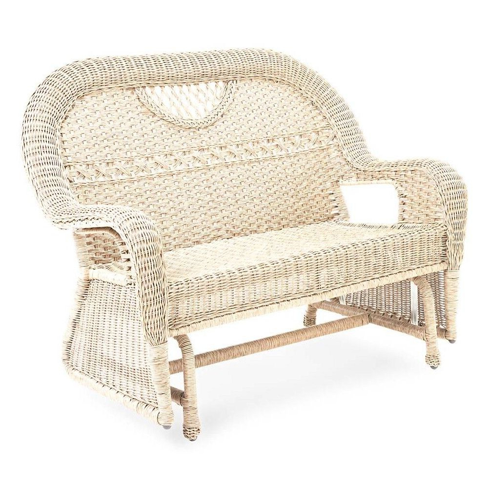 Favorite Prospect Hill Wicker Settee Benches Pertaining To Prospect Hill Wicker Love Seat Glider, Cloud White – Plow (View 5 of 20)