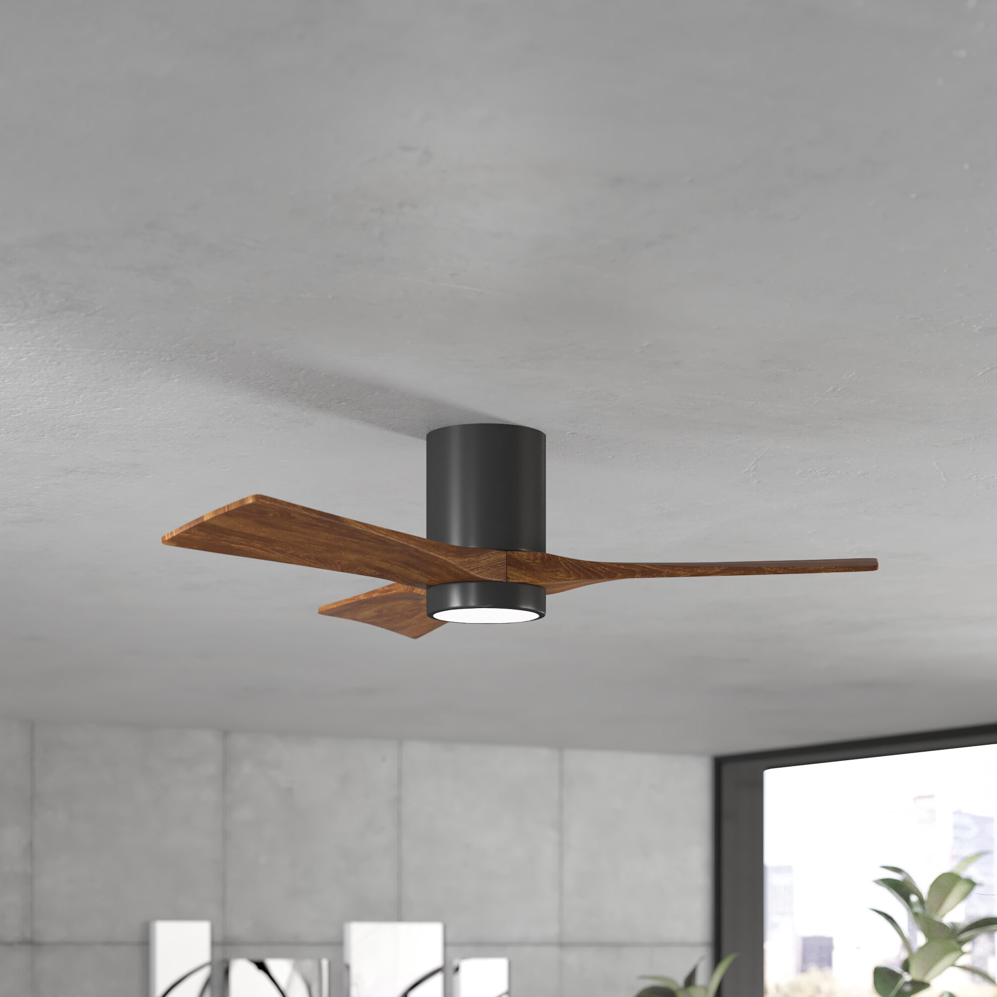 "Favorite Tyree 3 Blade Ceiling Fans Regarding 42"" Trost 3 Blade Hugger Ceiling Fan With Wall Remote And Light Kit (View 9 of 20)"