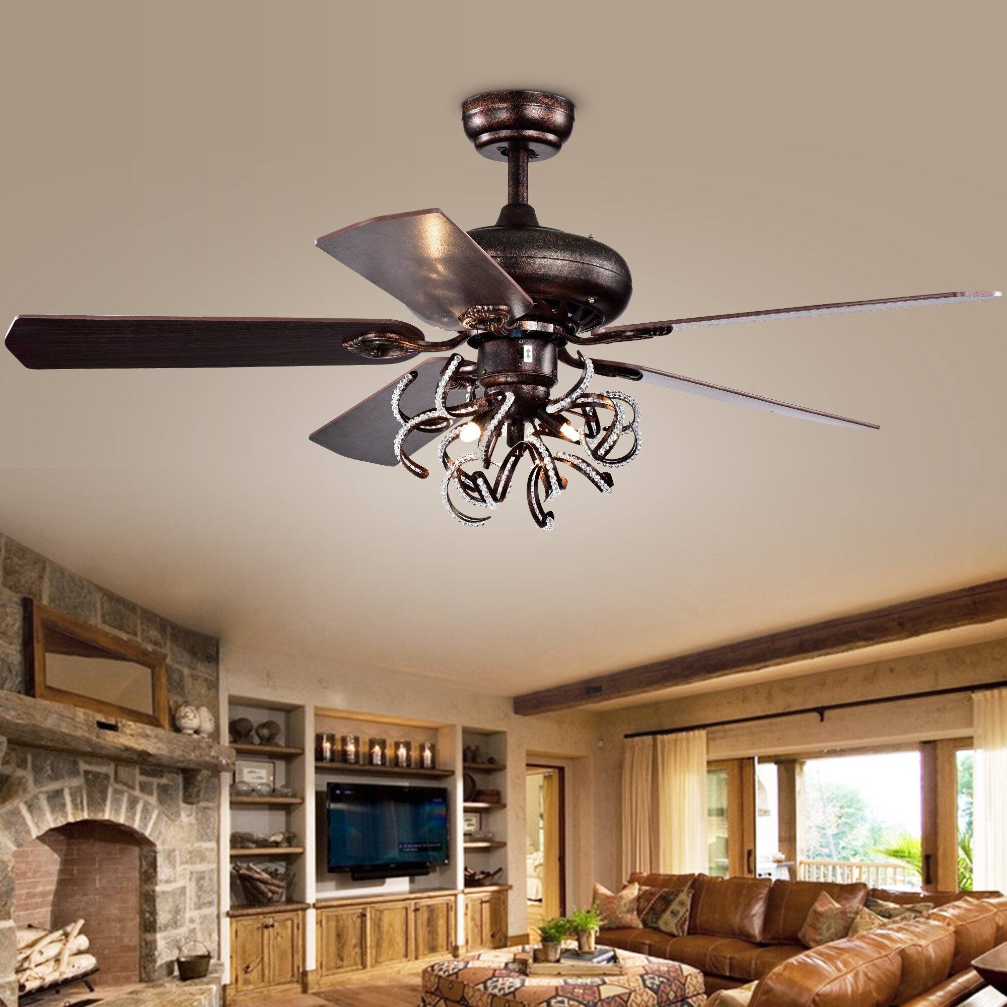 Fredericksen 5 Blade Ceiling Fans With Regard To Latest Christiansen 5 Blade Ceiling Fan, Light Kit Included (View 12 of 20)