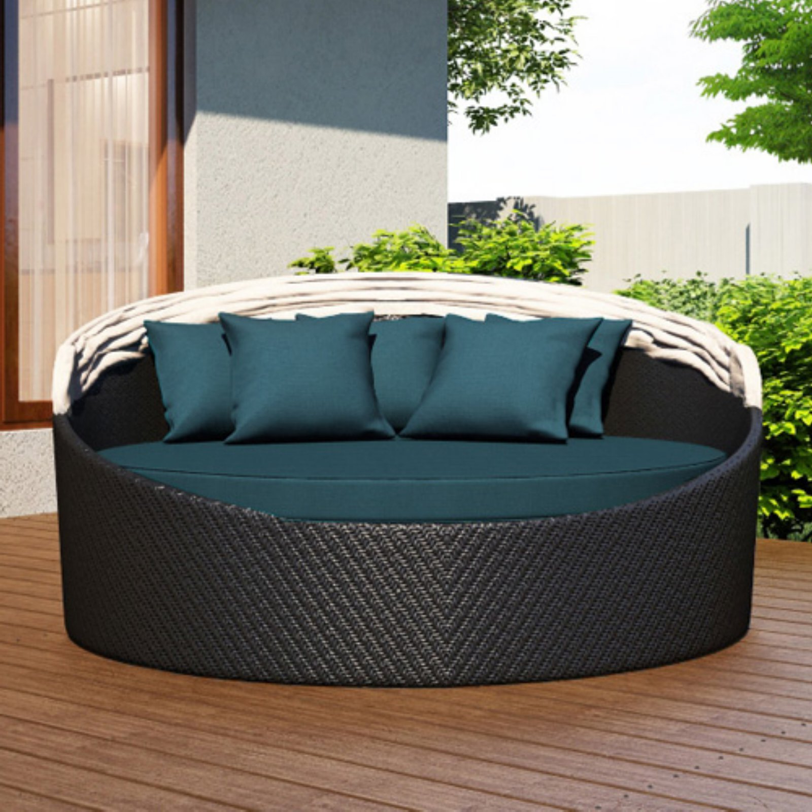 Freeport Patio Daybeds With Cushion Inside Well Known Outdoor Harmonia Living Wink Canopy Daybed Sunbrella Heather (View 9 of 20)
