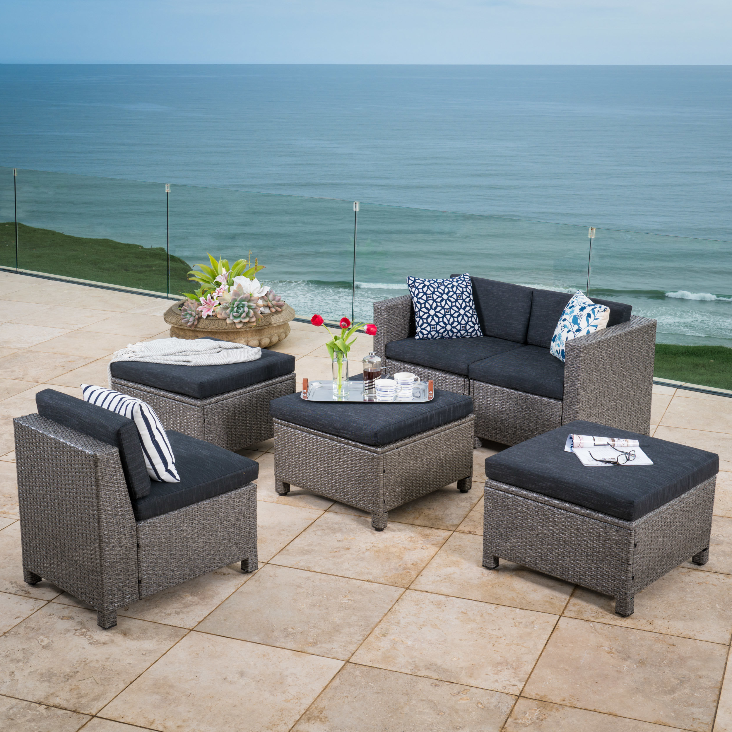 Furst Patio Sofas With Cushion Within 2019 Furst 6 Piece Sofa Set With Cushions (View 11 of 20)