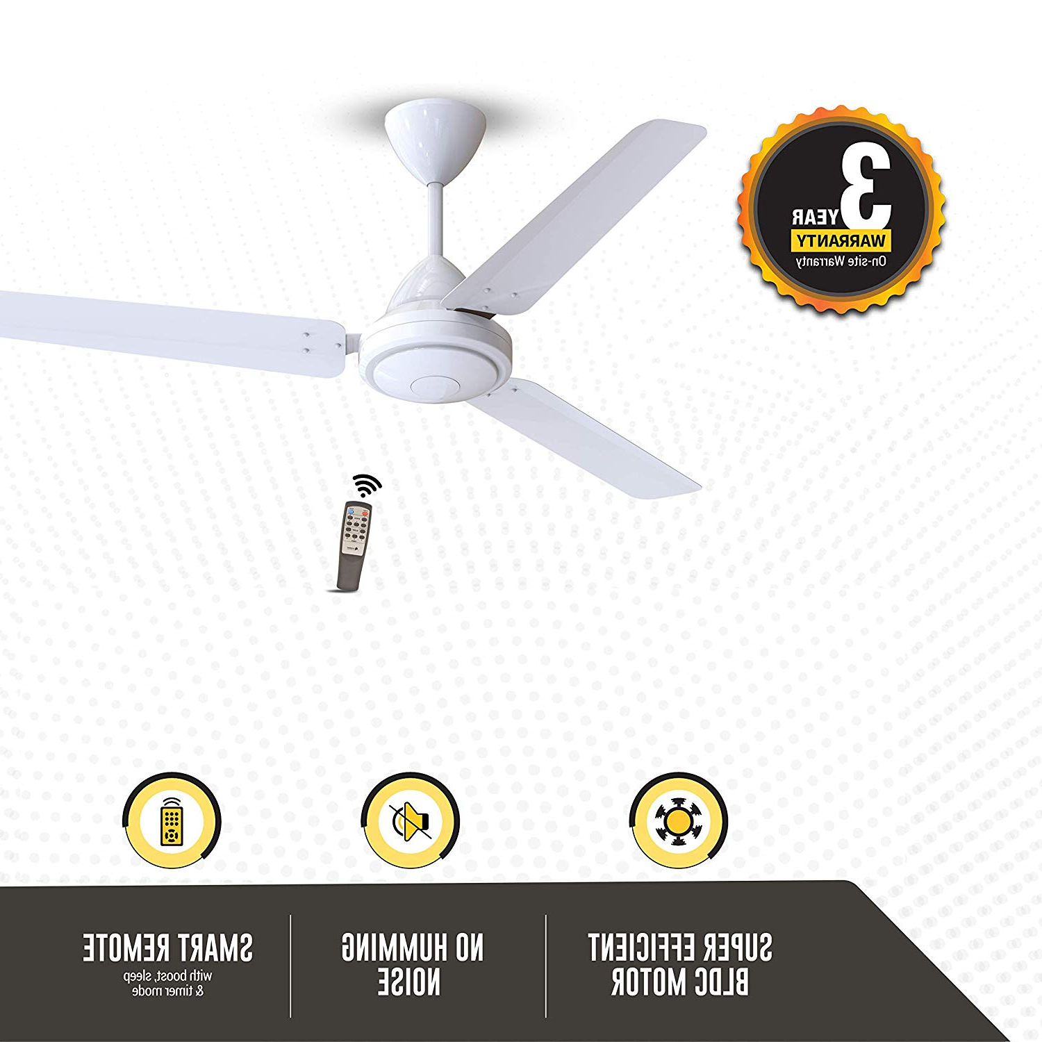 Gorilla Efficio Energy Saving 5 Star Rated 3 Blade Ceiling Fan With Remote Control And Bldc Motor, 1200mm White Within Well Known Sven 5 Blade Ceiling Fans (View 20 of 20)