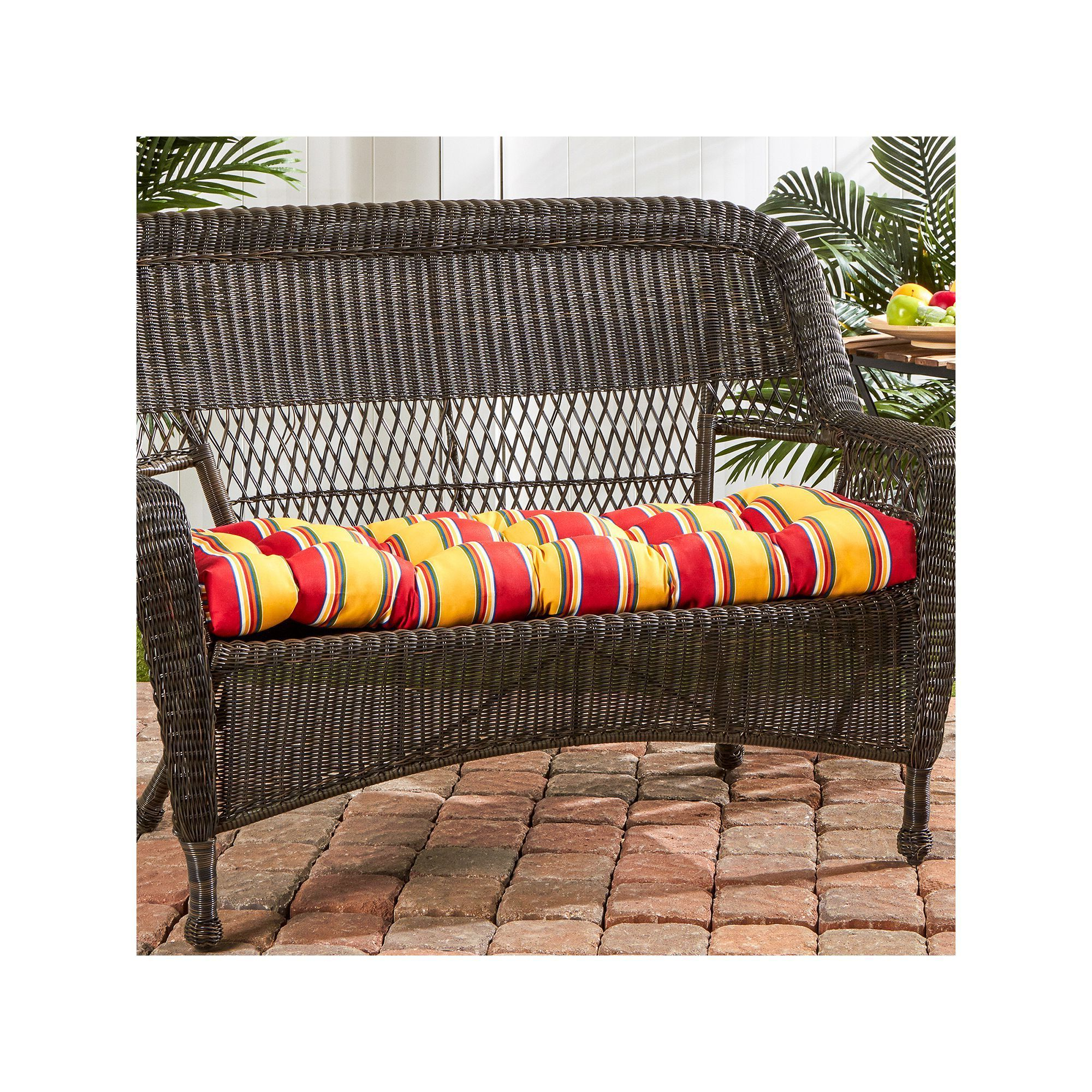 Greendale Home Fashions Outdoor Porch Swing Or Bench Cushion Inside Recent Karan Wicker Patio Loveseats (View 14 of 20)