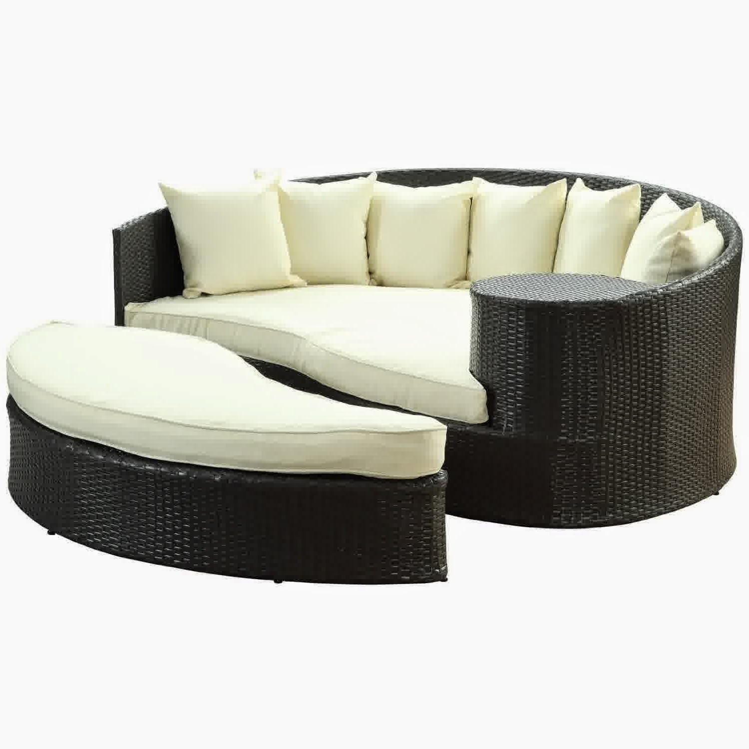 Greening Outdoor Daybeds With Ottoman & Cushions Inside Trendy Lexmod Taiji Outdoor Wicker Patio Daybed With Ottoman In (View 5 of 20)