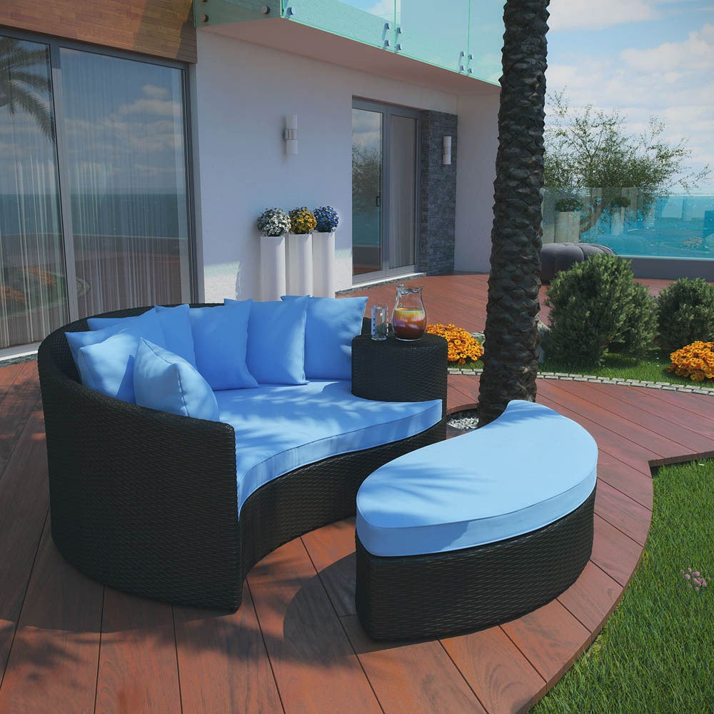 Greening Outdoor Daybeds With Ottoman & Cushions Regarding Most Recently Released Modway 'taiji' Outdoor Wicker Patio Daybed With Ottoman And Cushions (View 7 of 20)