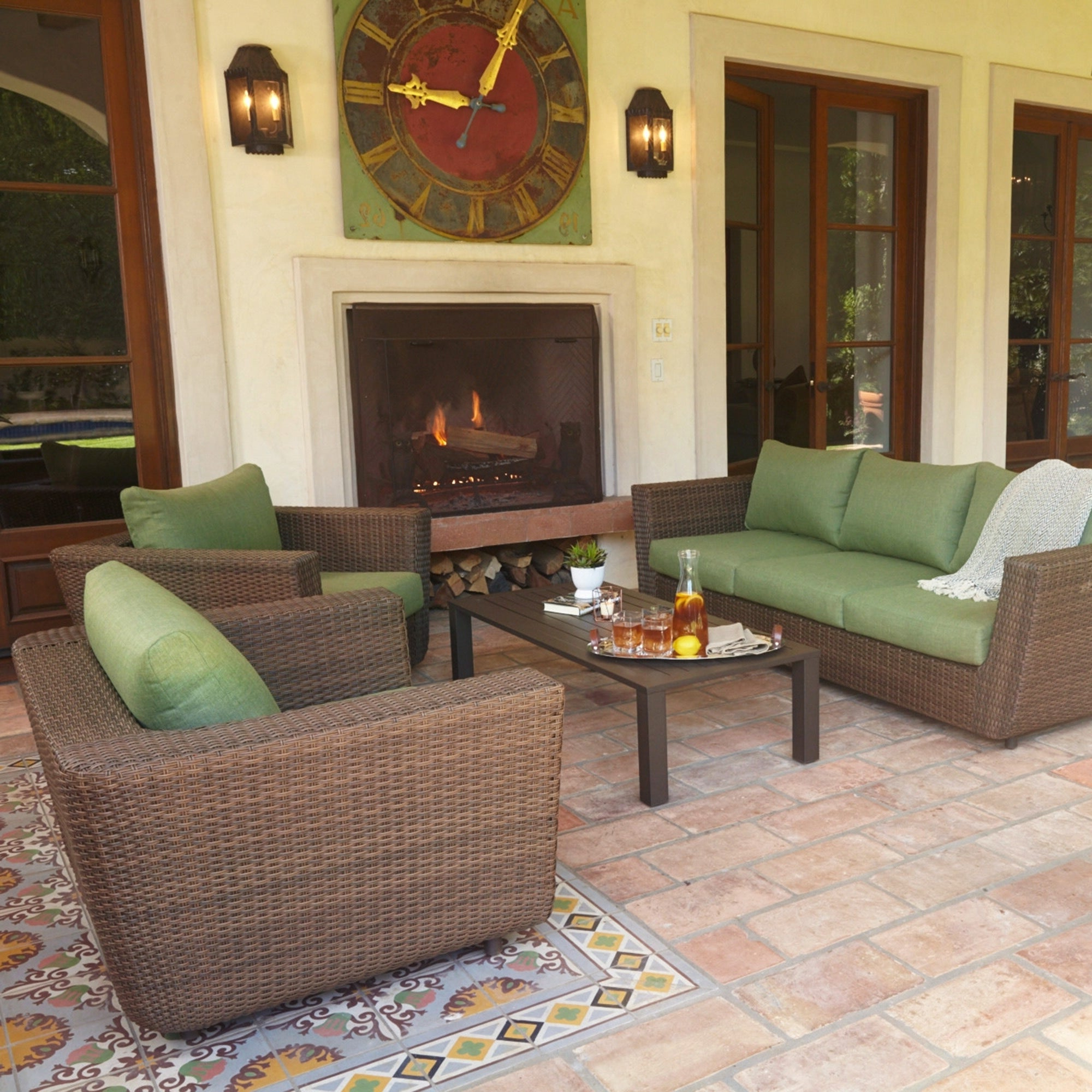 Greta Living Patio Sectionals With Cushions Regarding Most Recent Greta Outdoor 4 Piece Wicker Furniture Set, 3 Seat Sofa And Lounge Chairs  With Green Cushions, Aluminum Frame (View 10 of 20)