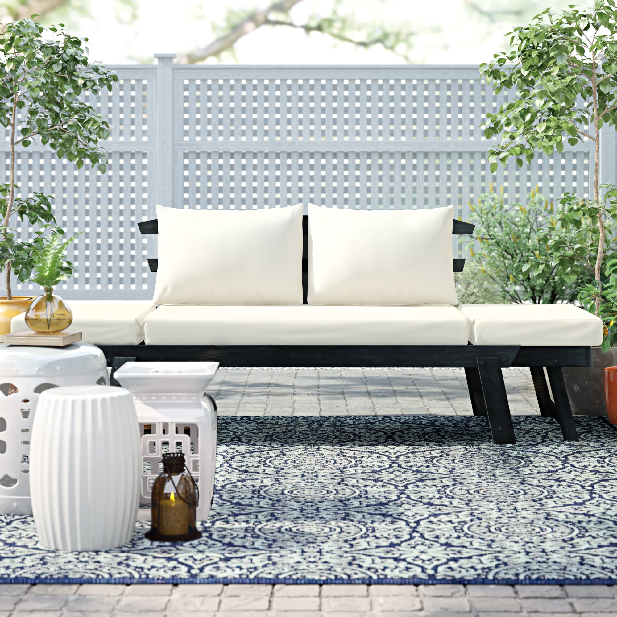 Grosvenor Bamboo Patio Daybeds With Cushions Intended For Favorite Beal Patio Daybed With Cushions (View 5 of 20)