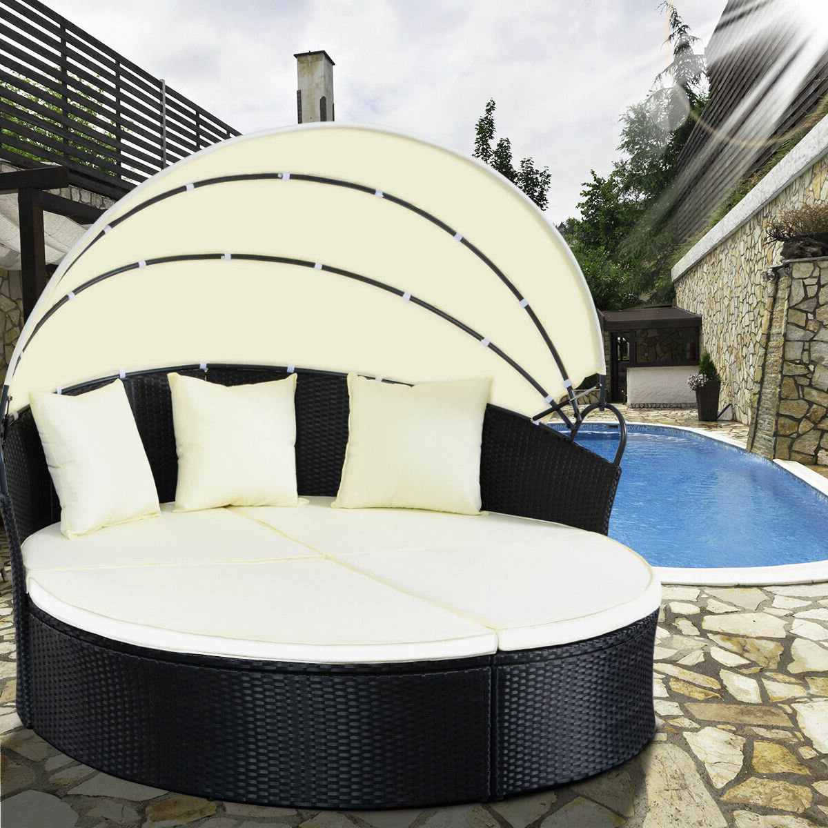 Hamisi Patio Daybed With Cushions With Most Up To Date Harlow Patio Daybeds With Cushions (View 7 of 20)