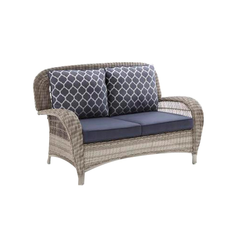 Hampton Bay Beacon Park Gray Wicker Outdoor Loveseat With Midnight Cushions Intended For Favorite Wicker Loveseats (View 11 of 20)