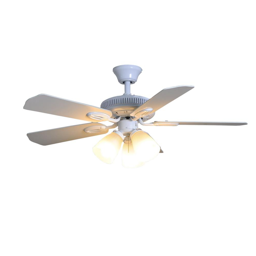 Hampton Bay Glendale 42 In. Led Indoor White Ceiling Fan With Light Kit For Most Recent Mesa 5 Blade Ceiling Fans (Gallery 10 of 20)