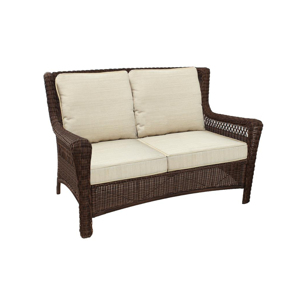 Hampton Bay Park Meadows Brown Wicker Outdoor Loveseat With Beige Cushion Inside Popular Wicker Loveseats (View 16 of 20)