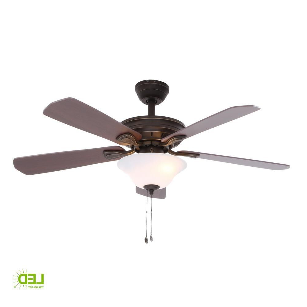 Hampton Bay Wellston 44 In. Led Indoor Oil Rubbed Bronze Regarding Newest Crumbley 5 Blade Ceiling Fans (Gallery 15 of 20)