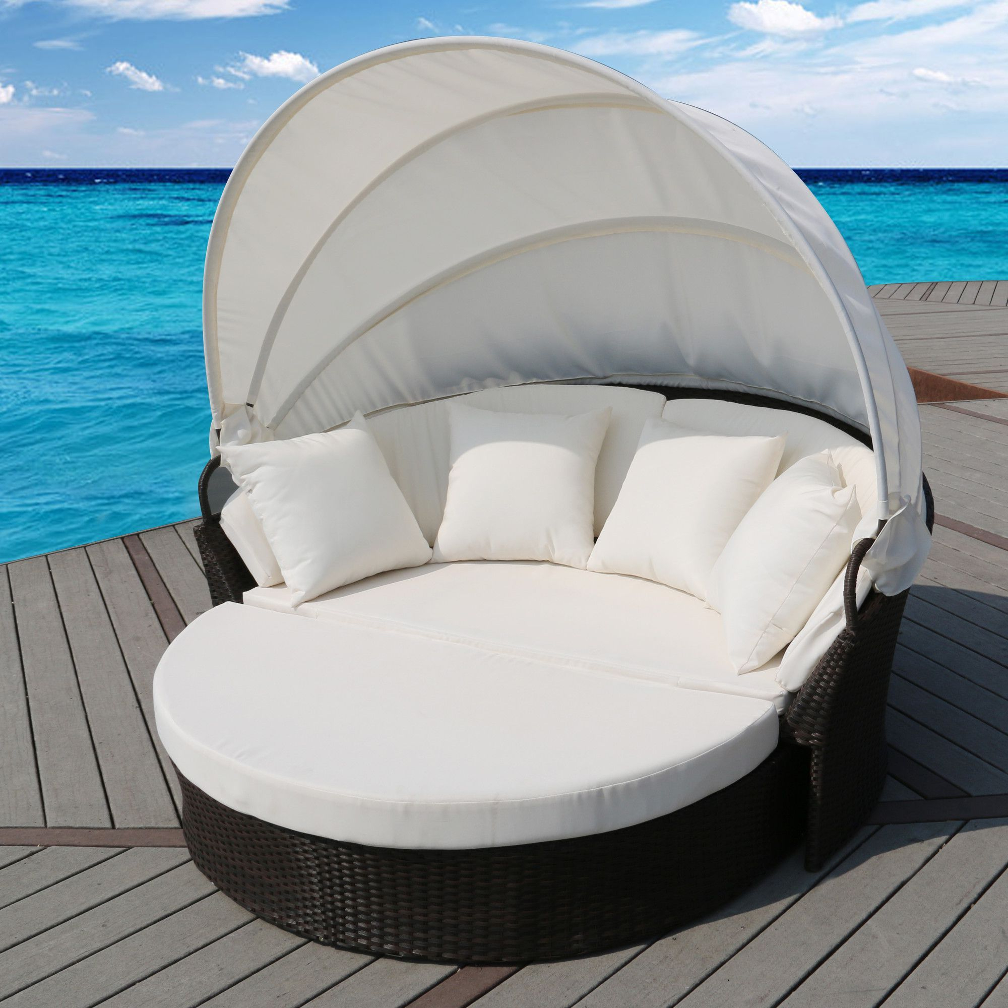 Harlow Patio Daybeds With Cushions In Newest Cerbere Flat Rattan Daybed With Cushions (View 9 of 20)