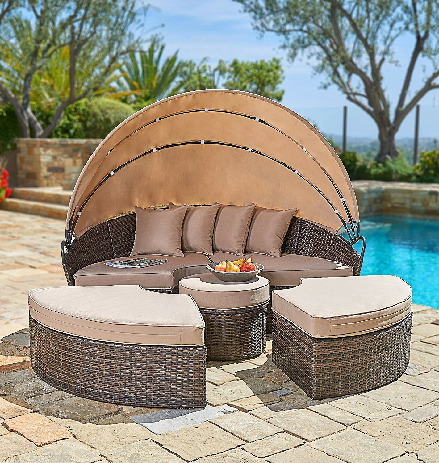 Harlow Patio Daybeds With Cushions Inside Trendy Behling Canopy Patio Daybed With Cushions (View 17 of 20)
