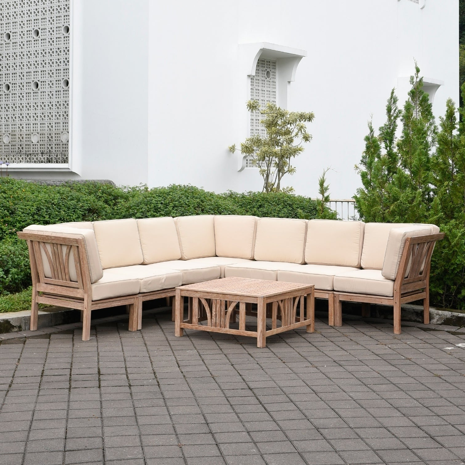 Havenside Home Delray 8 Piece Teak Patio Sectional Conversation Set With Favorite Montford Teak Patio Sofas With Cushions (View 5 of 20)