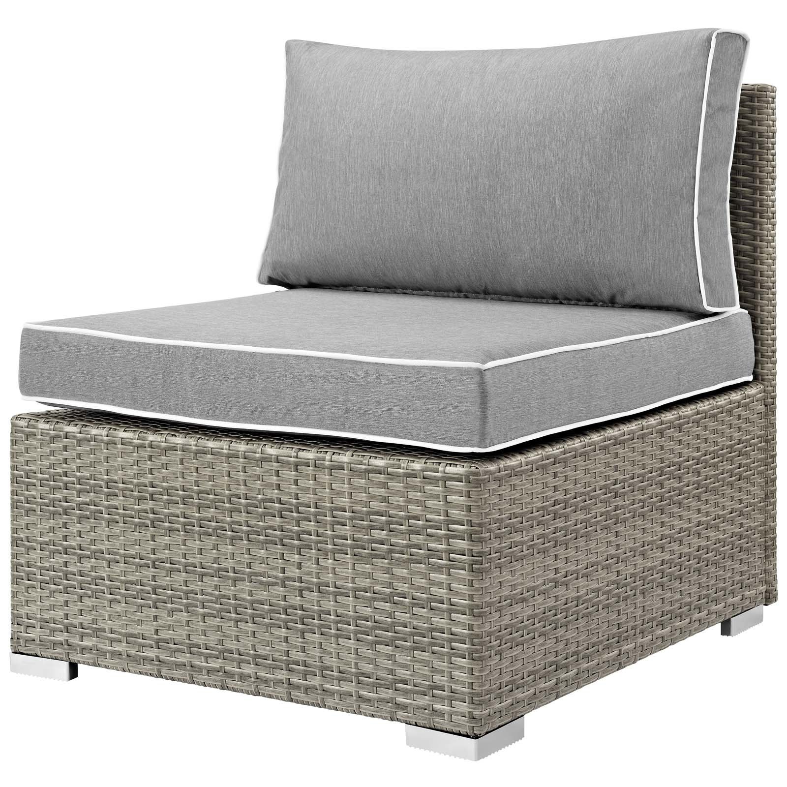 Heinrich Outdoor Armless Patio Chair With Cushion Regarding Fashionable Stapleton Wicker Resin Patio Sofas With Cushions (View 6 of 20)