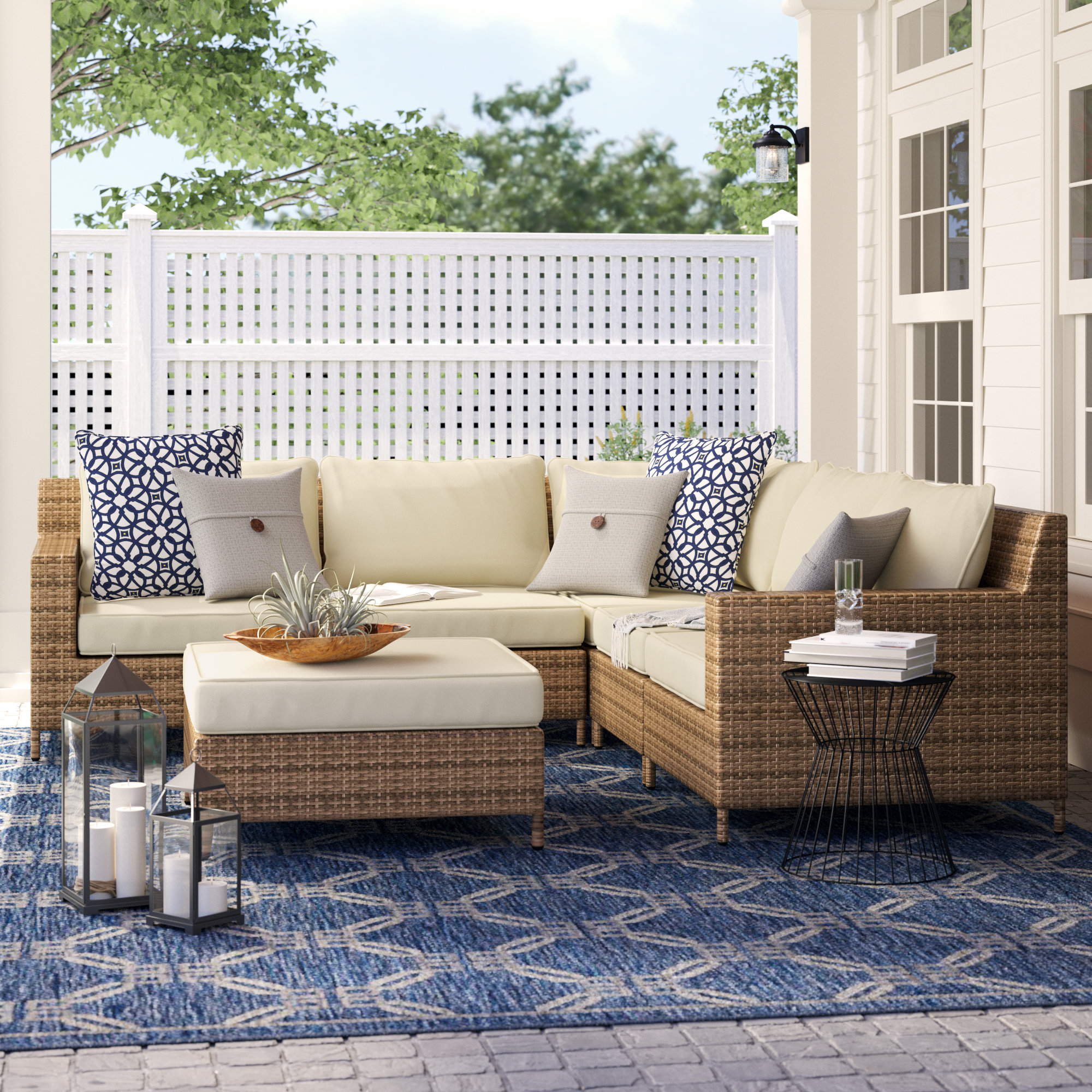 Hillcrest Patio Sectional With Cushions Pertaining To Popular Larsen Patio Sectionals With Cushions (View 8 of 20)