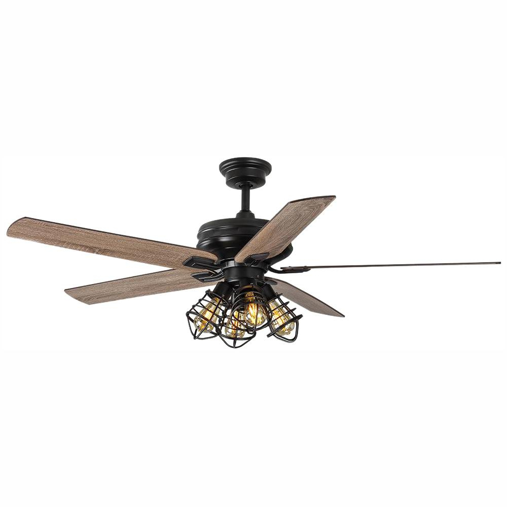 Home Decorators Collection Carlisle 60 In. Led Matte Black Ceiling Fan With  Remote Control And Light Kit Intended For Well Known Bennett 5 Blade Led Ceiling Fans With Remote (Gallery 18 of 20)