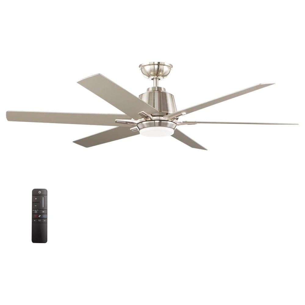 Home Decorators Collection Kensgrove 54 In. Integrated Led Indoor Brushed  Nickel Ceiling Fan With Light Kit And Remote Control Inside 2020 The Kensington 5 Blade Ceiling Fans (Gallery 14 of 20)