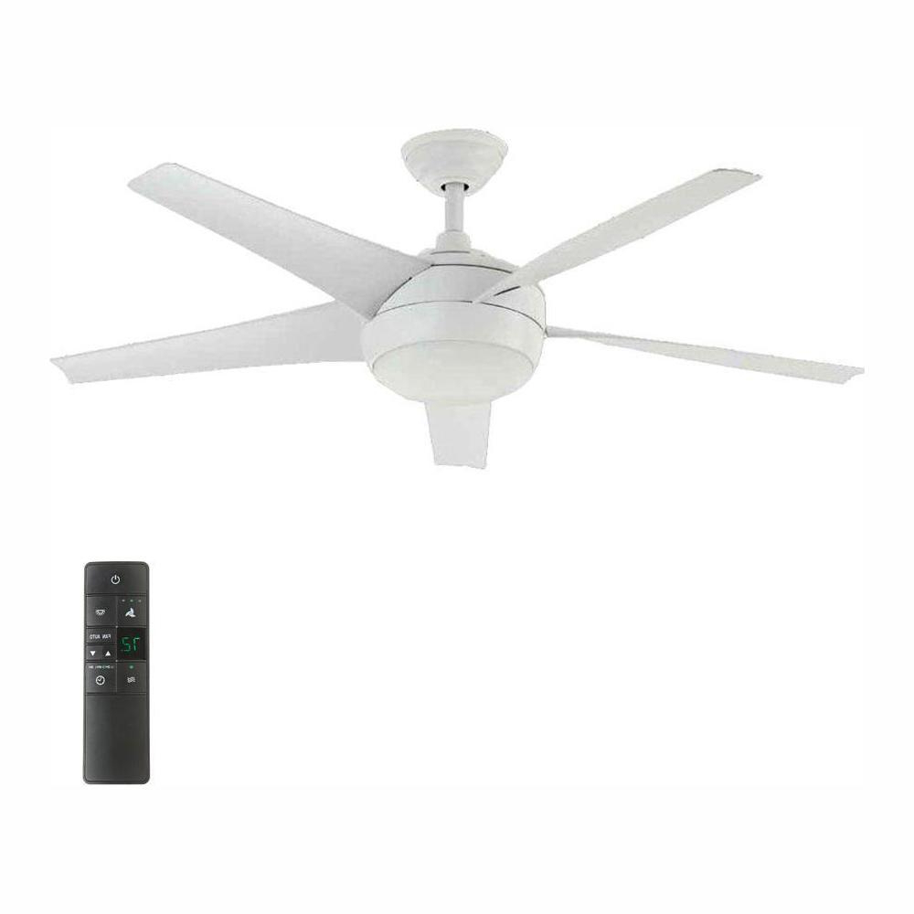 Home Decorators Collection Windward Iv 52 In. Led Indoor Matte White  Ceiling Fan With Light Kit And Remote Control Inside Popular Cason 4 Blade Ceiling Fans (Gallery 12 of 20)
