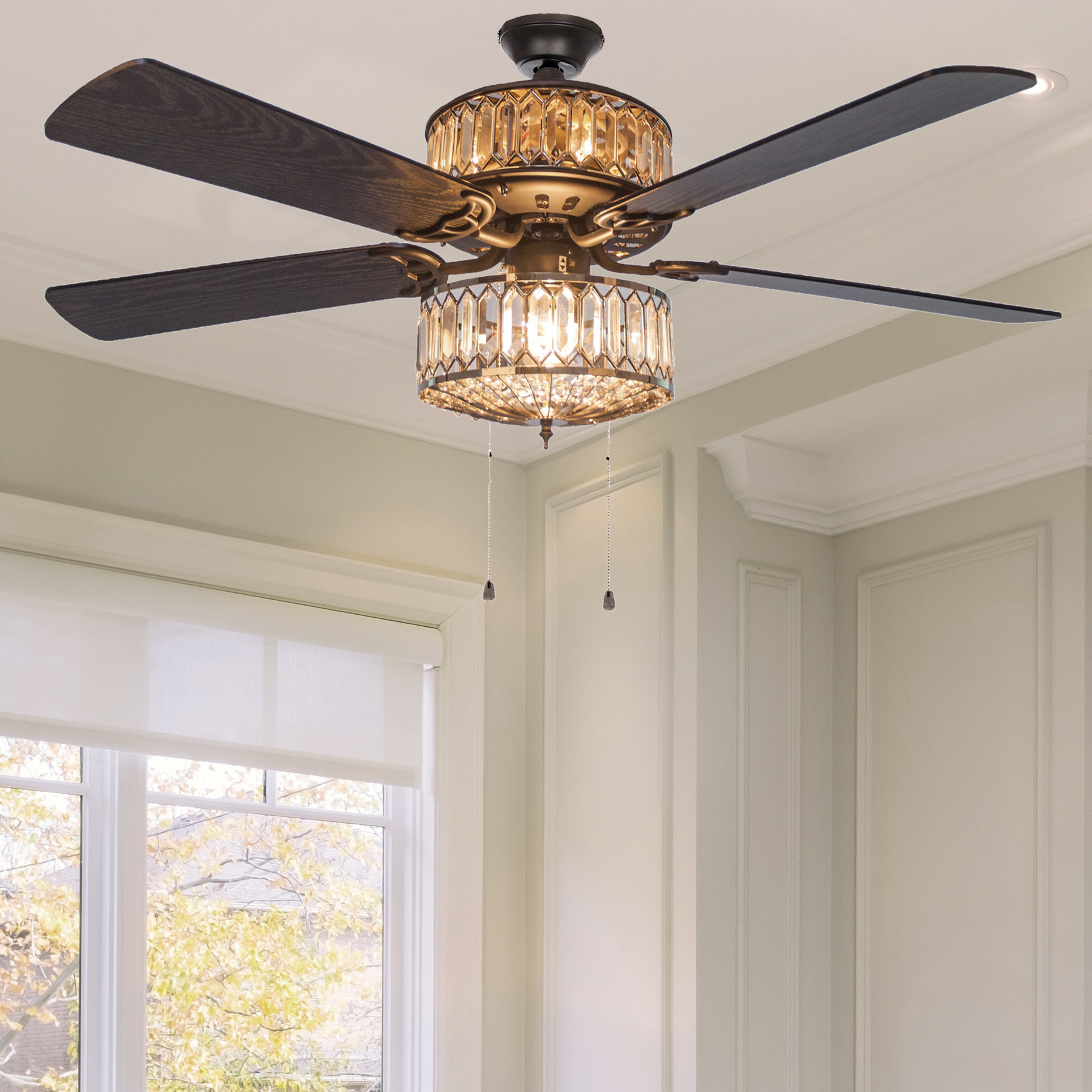"House Of Hampton 52"" Norah 5 Blade Ceiling Fan With Remote Throughout 2019 Njie Caged Crystal 5 Blade Ceiling Fans (View 12 of 20)"