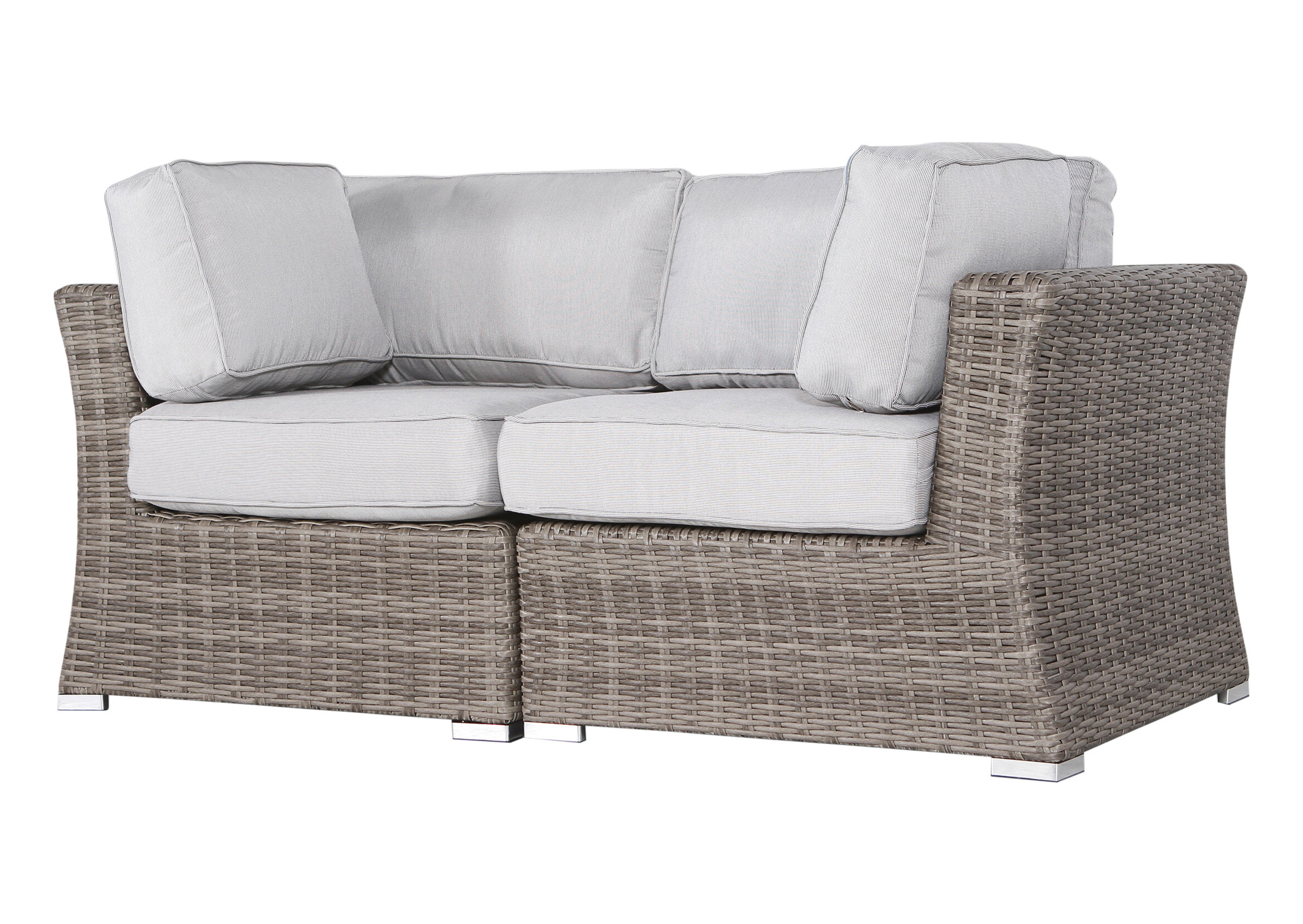 Huddleson Contemporary Loveseat With Cushion Inside Well Liked Avadi Outdoor Sofas & Ottomans 3 Piece Set (View 15 of 25)