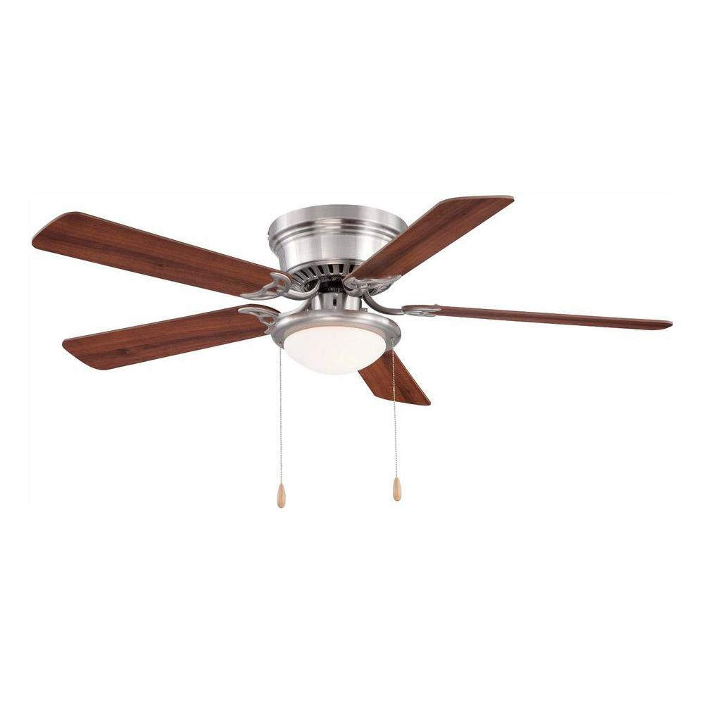 Hugger 52 In. Led Indoor Brushed Nickel Ceiling Fan With Light Kit Intended For 2019 Cairo 3 Blade Led Ceiling Fans With Remote (Gallery 12 of 20)