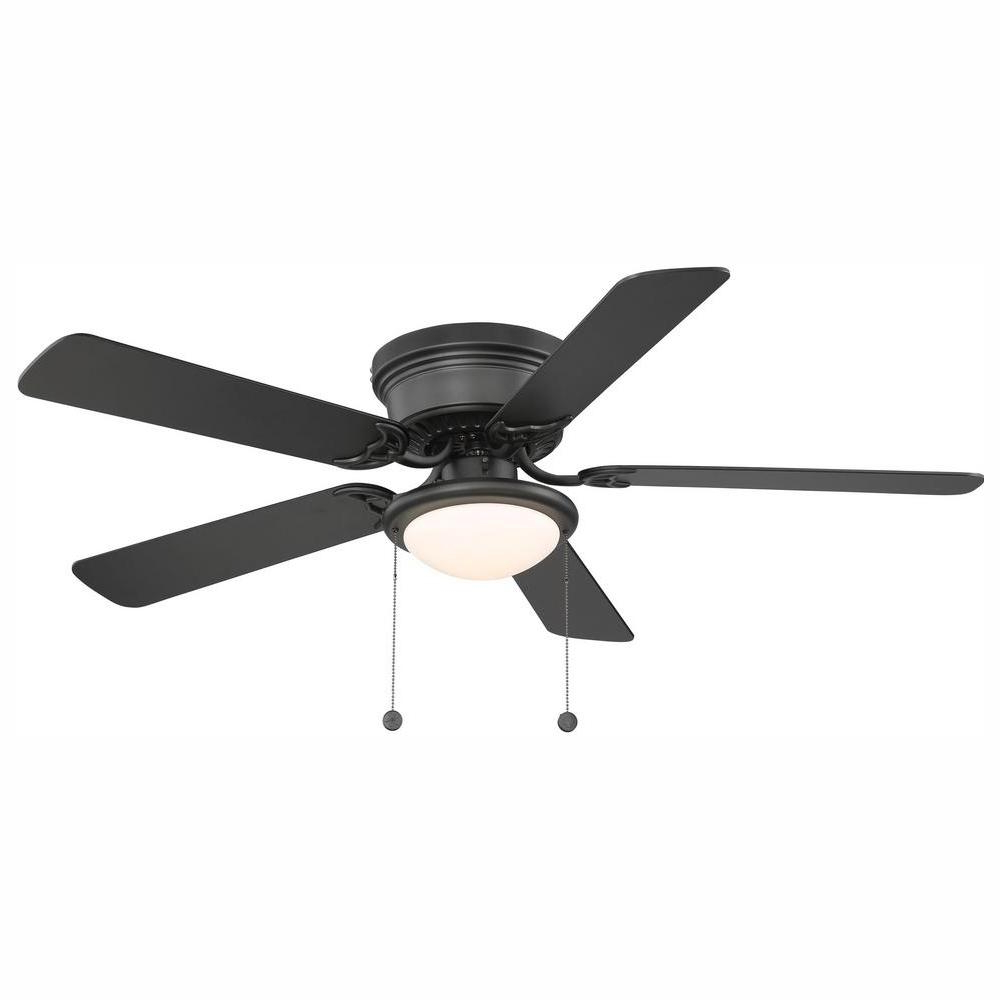 Hugger 52 In. Led Indoor Brushed Nickel Ceiling Fan With Light Kit With Regard To Most Up To Date Cedarton Hugger 5 Blade Led Ceiling Fans (Gallery 15 of 20)
