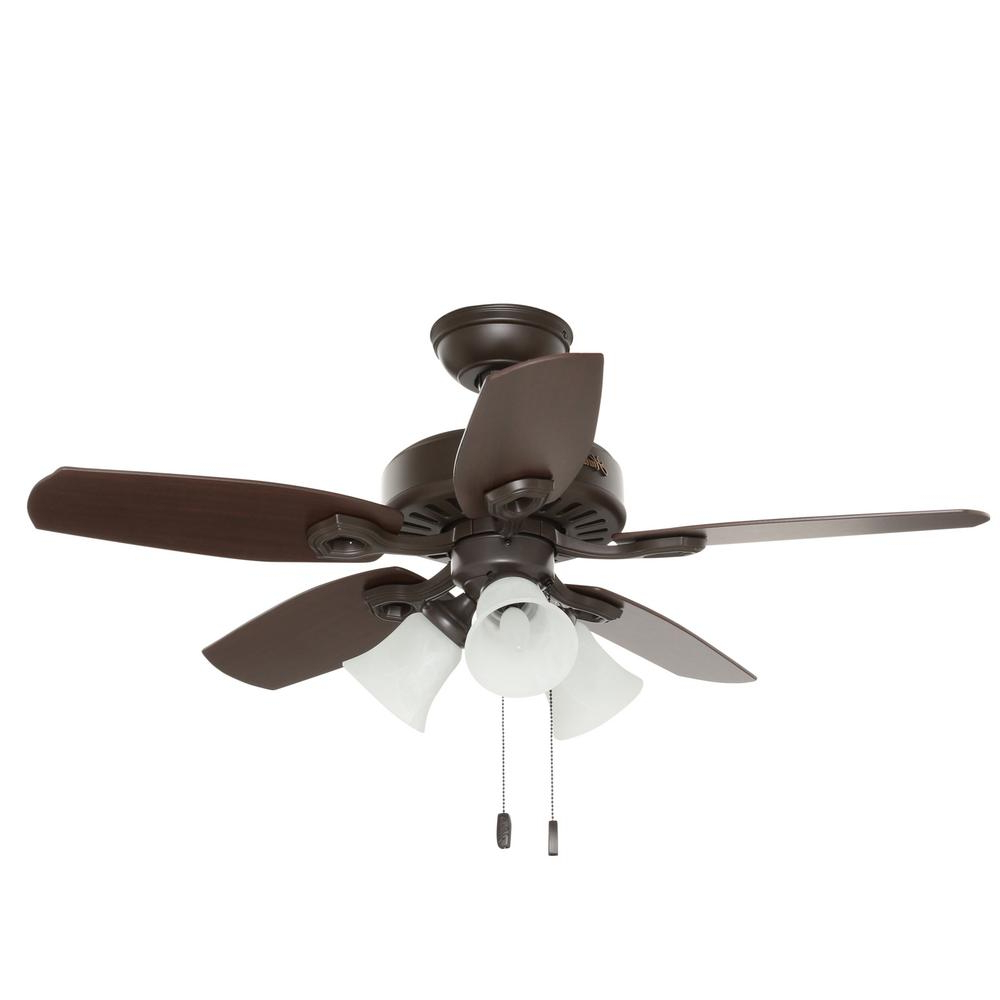 Hunter 42 In. Indoor New Bronze Builder Small Room Ceiling Fan With Light  Kit In Popular Builder Low Profile 5 Blade Ceiling Fans (Gallery 17 of 20)