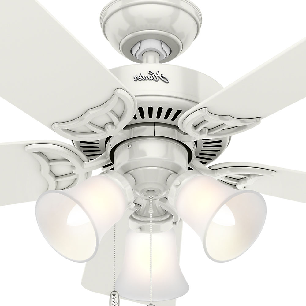 """Hunter 42"""" Southern Breeze White Ceiling Fan With Light For Most Current Southern Breeze 5 Blade Ceiling Fans (View 6 of 20)"""