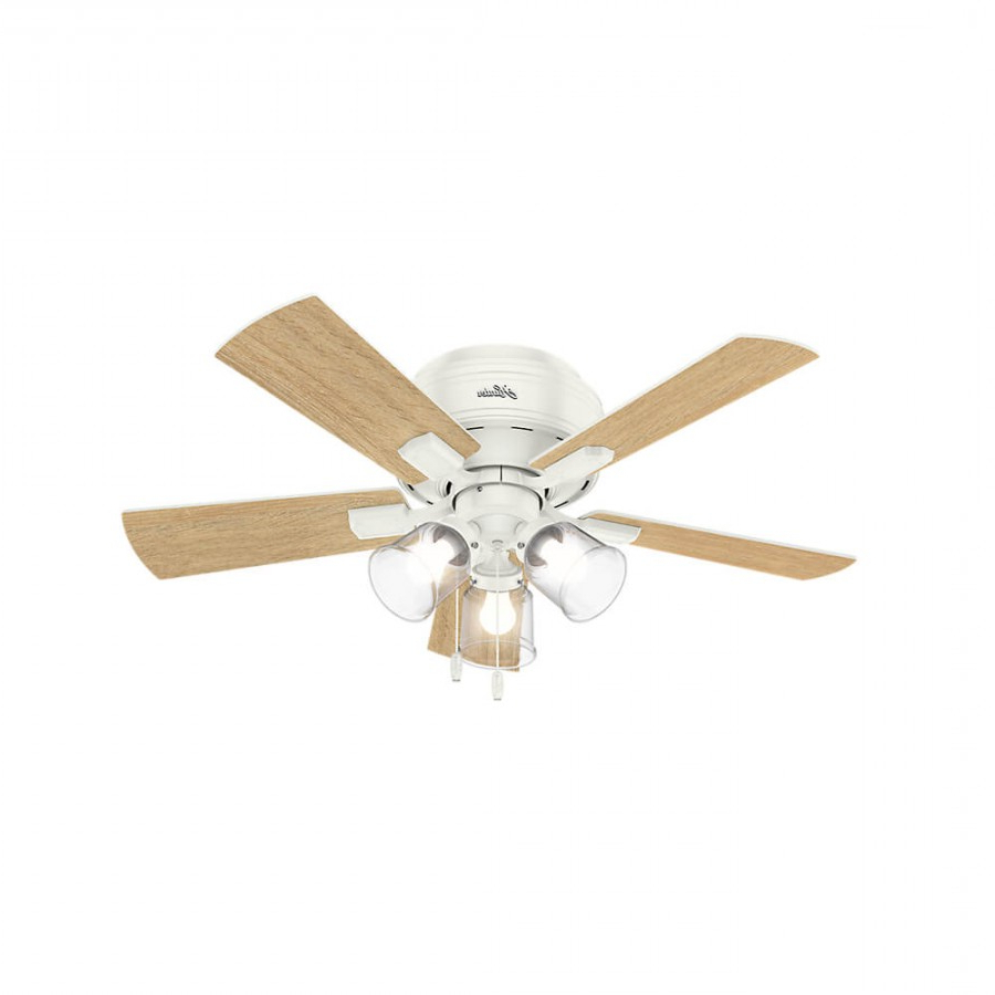 Hunter 52152 Crestfield 3 Led Light 42 Inch Ceiling Fan In Fresh White With  5 Drifted Oak Blade And Clear Seeded Glass Pertaining To Fashionable Crestfield 5 Blade Led Ceiling Fans (View 10 of 20)