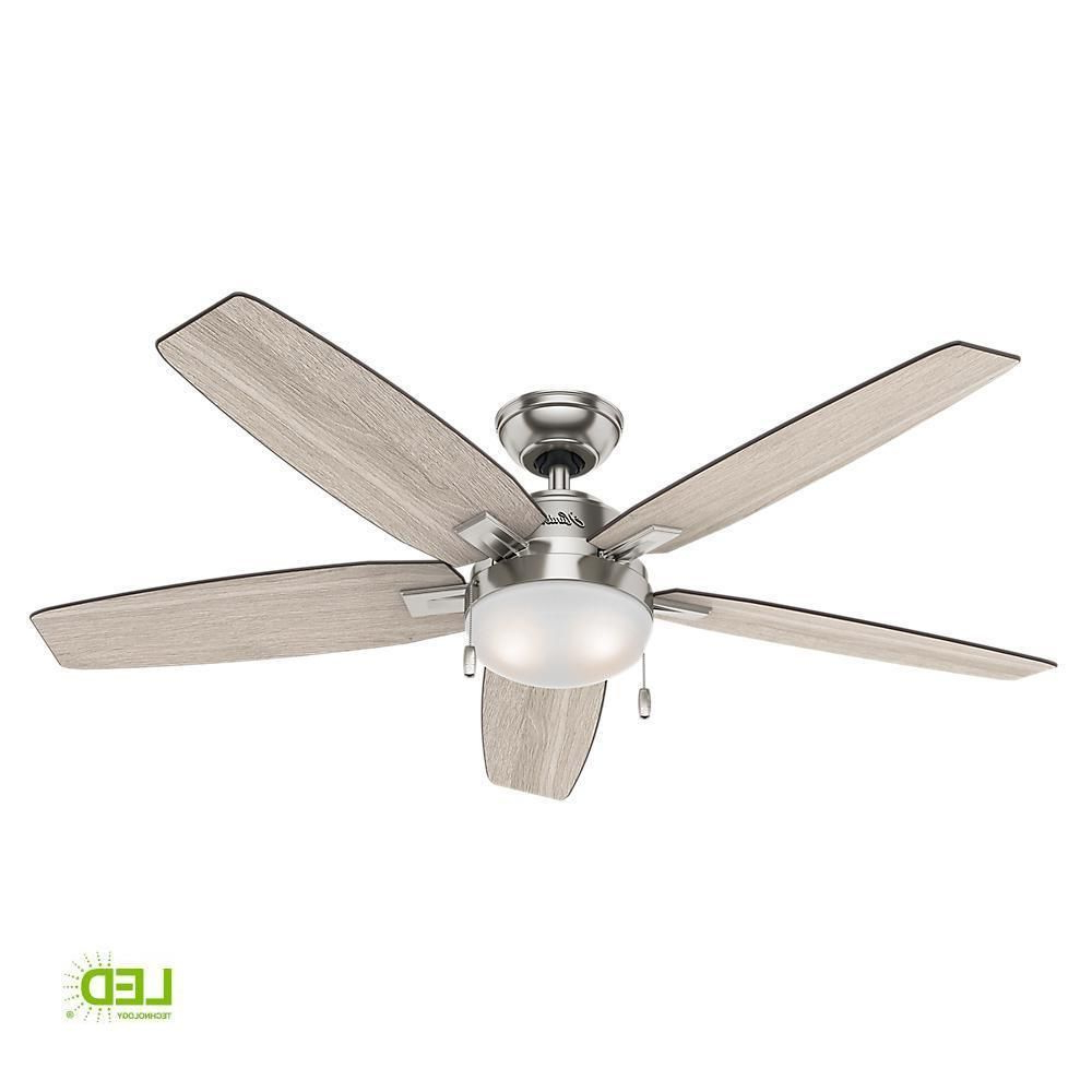 "Hunter 54"" Brushed Nickel Contemporary Ceiling Fan With Within 2020 Hamlett 5 Blade Ceiling Fans (Gallery 9 of 20)"