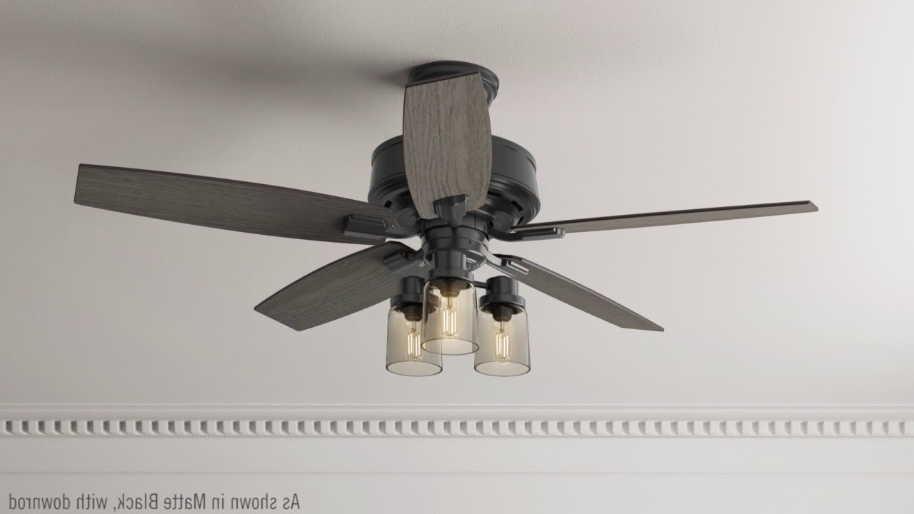 """Hunter 54189 52"""" Bennett Matte Black Ceiling Fan With Light With Handheld  Remote Within 2019 Bennett 5 Blade Led Ceiling Fans With Remote (Gallery 16 of 20)"""